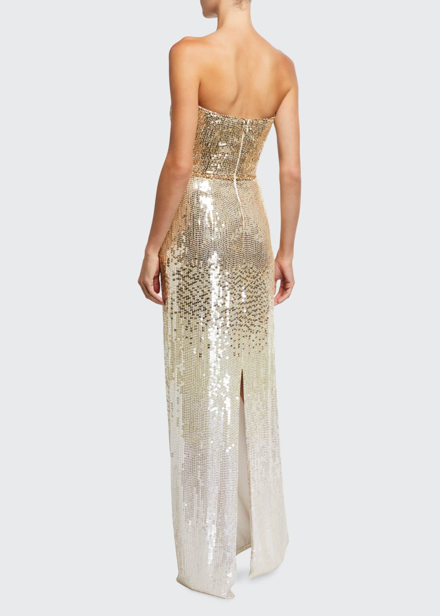 Image 2 of 2: Ombre Sequin Strapless Column Gown