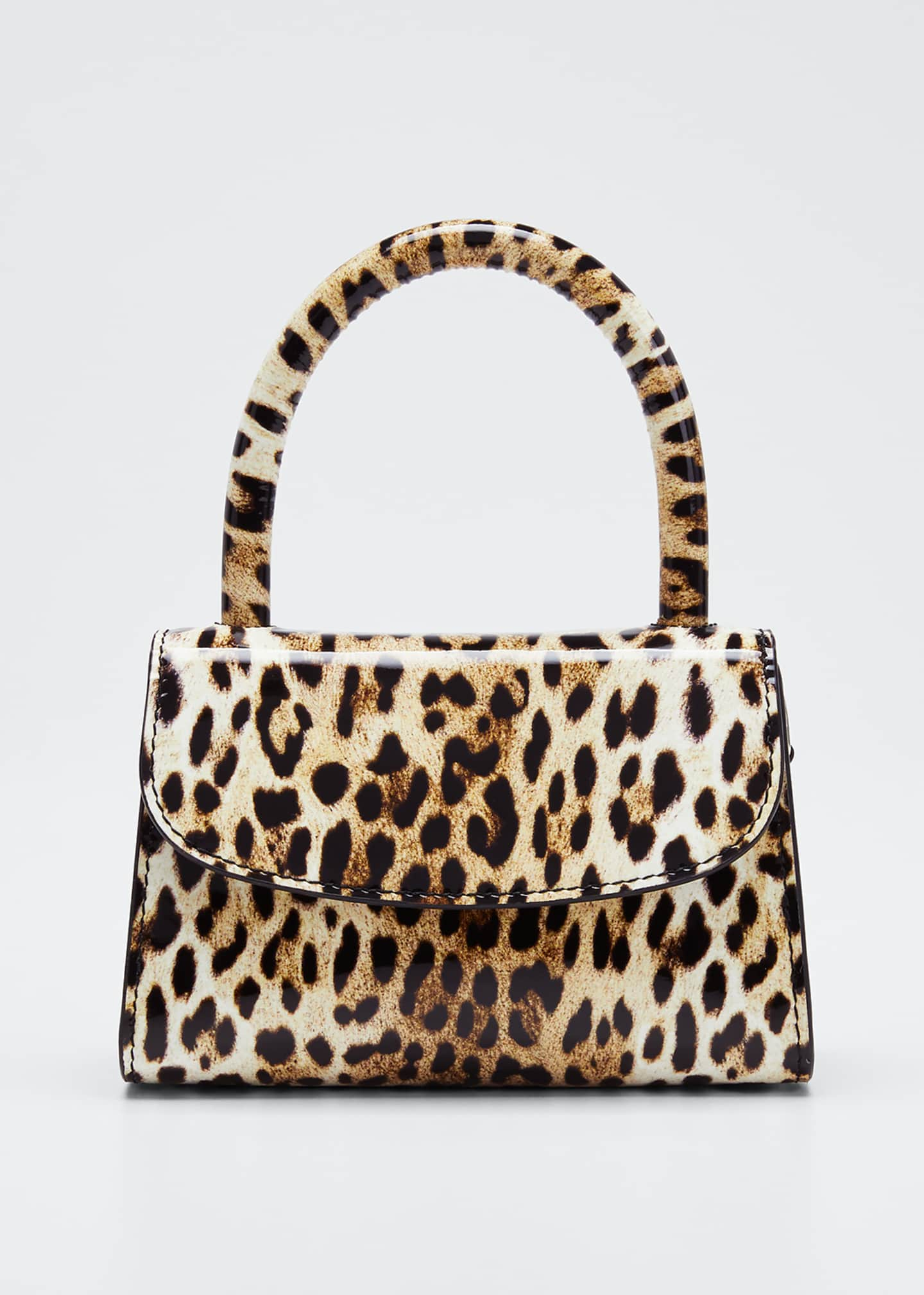 BY FAR Mini Leopard-Print Leather Top-Handle Bag