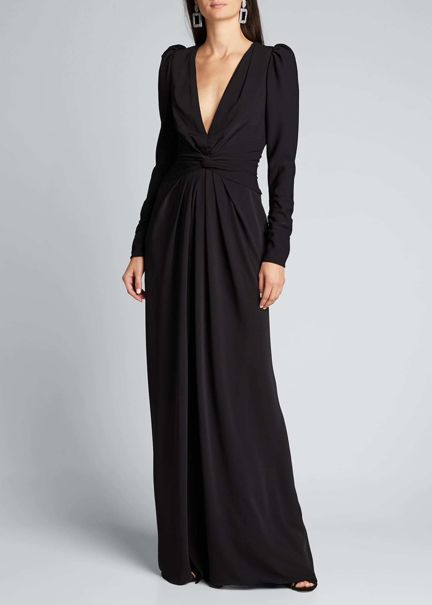 Image 3 of 5: Twisted Puff-Sleeve Gown