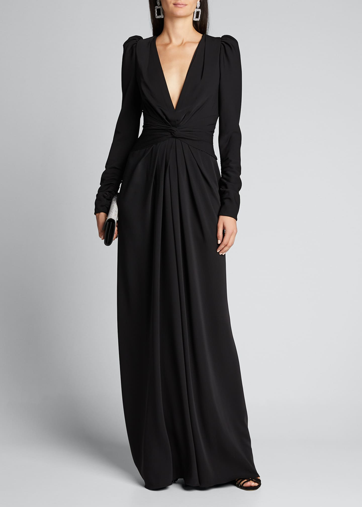 Image 1 of 5: Twisted Puff-Sleeve Gown