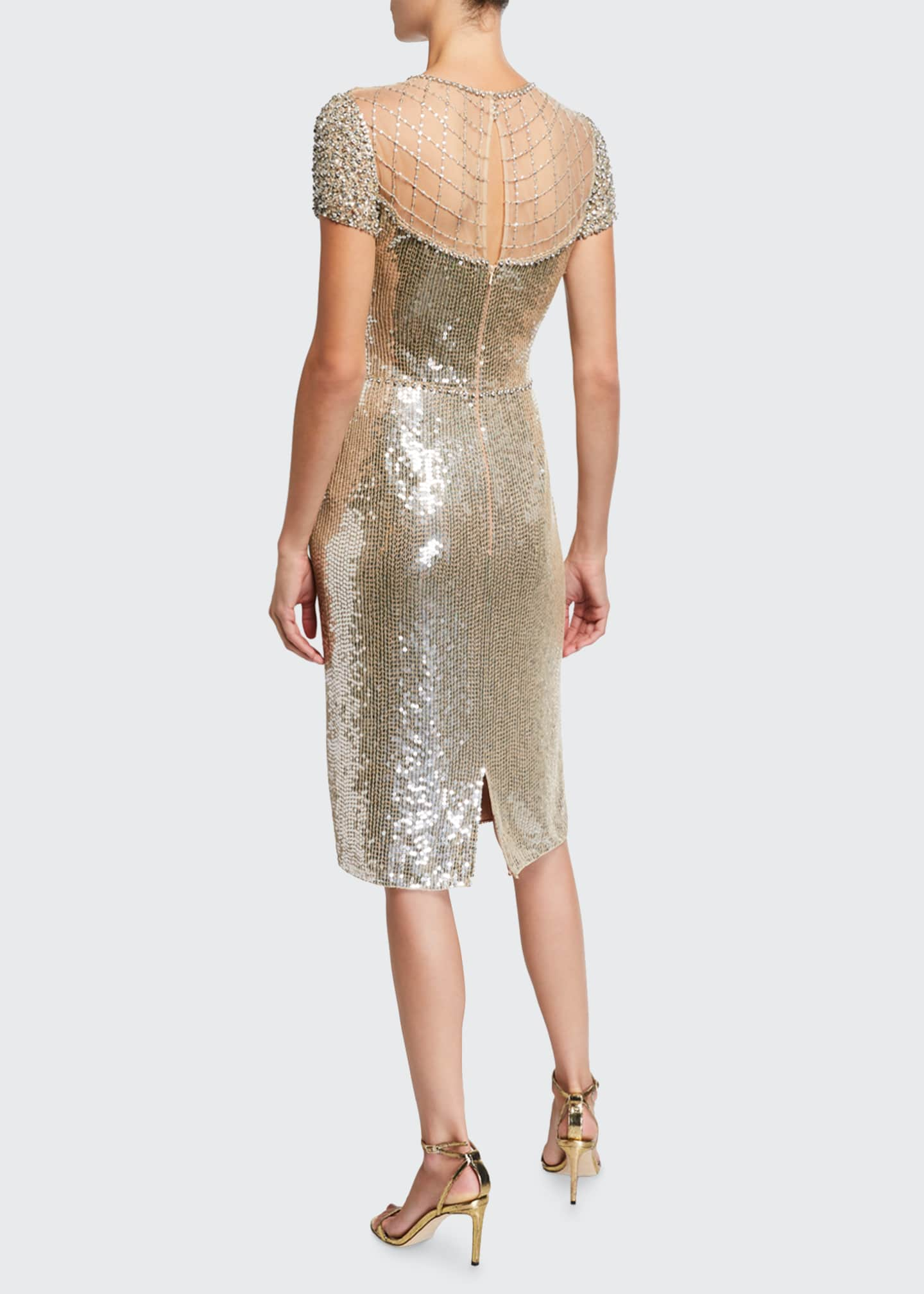 Image 2 of 2: Sequin Cap-Sleeve Cocktail Dress