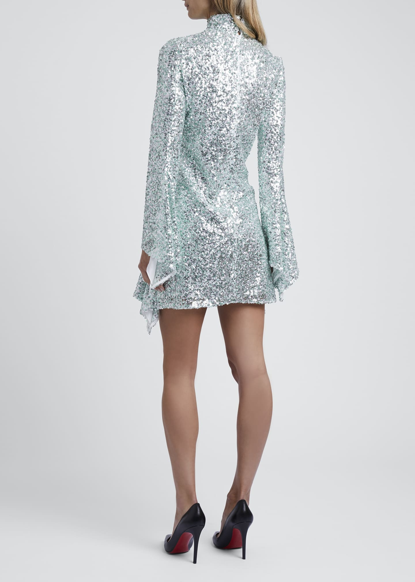 Image 2 of 3: Sequined High-Neck Mini Dress