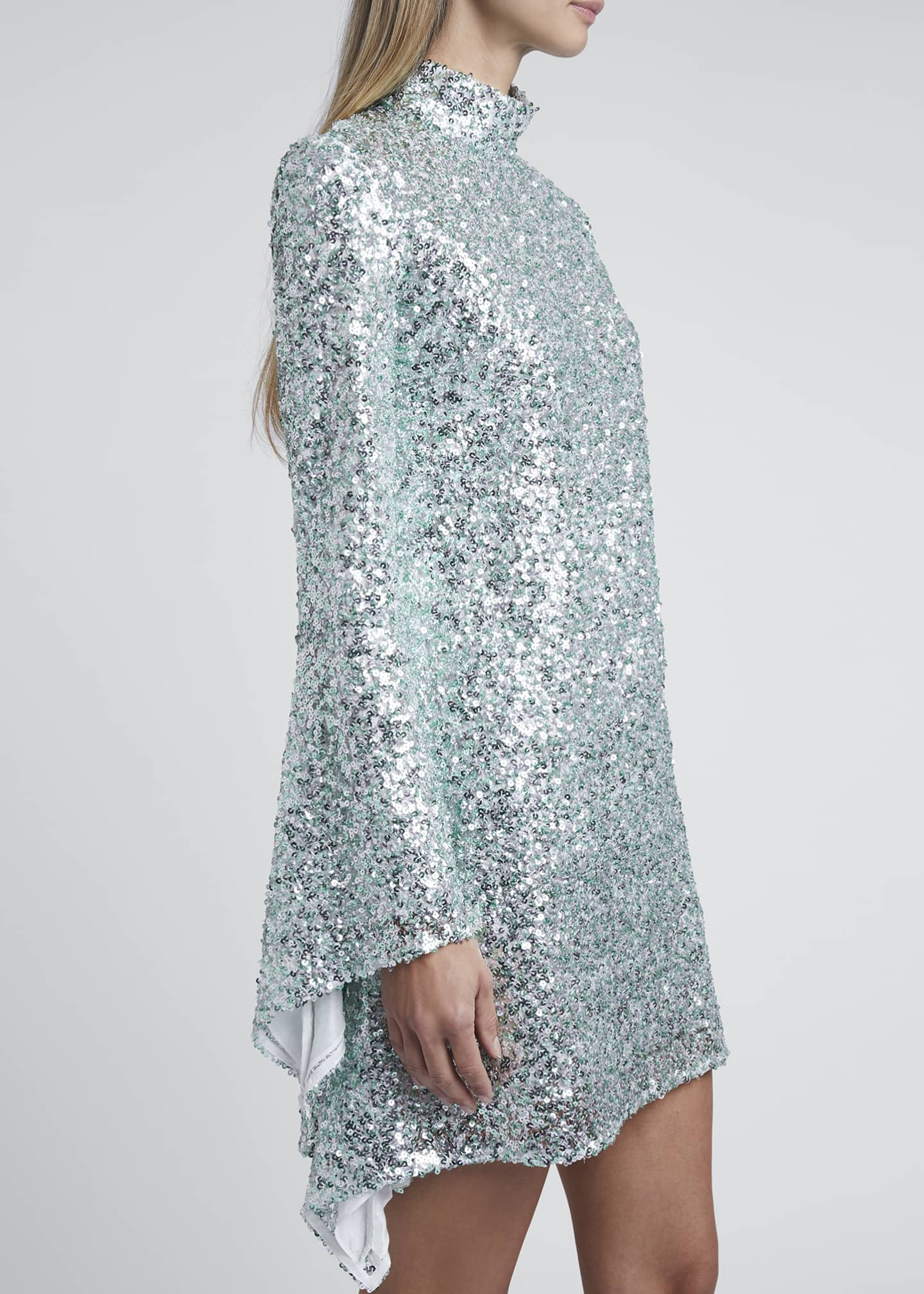 Image 3 of 3: Sequined High-Neck Mini Dress