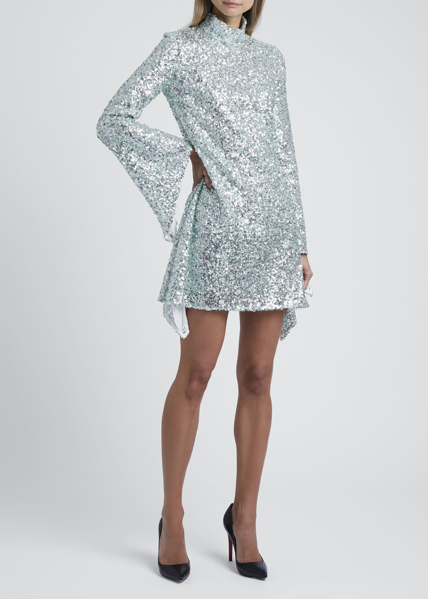 Image 1 of 3: Sequined High-Neck Mini Dress