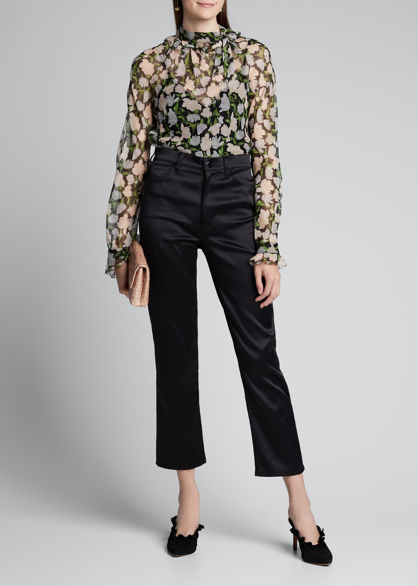 Jason Wu Collection Floral-Print Crinkled Chiffon Tie-Neck Blouse