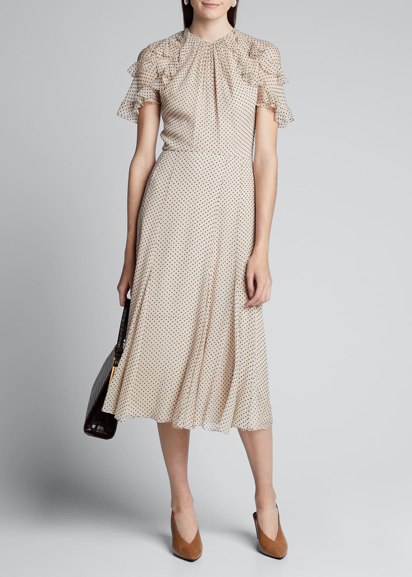 Jason Wu Collection Flocked Dotted-Silk Crinkle Chiffon Dress