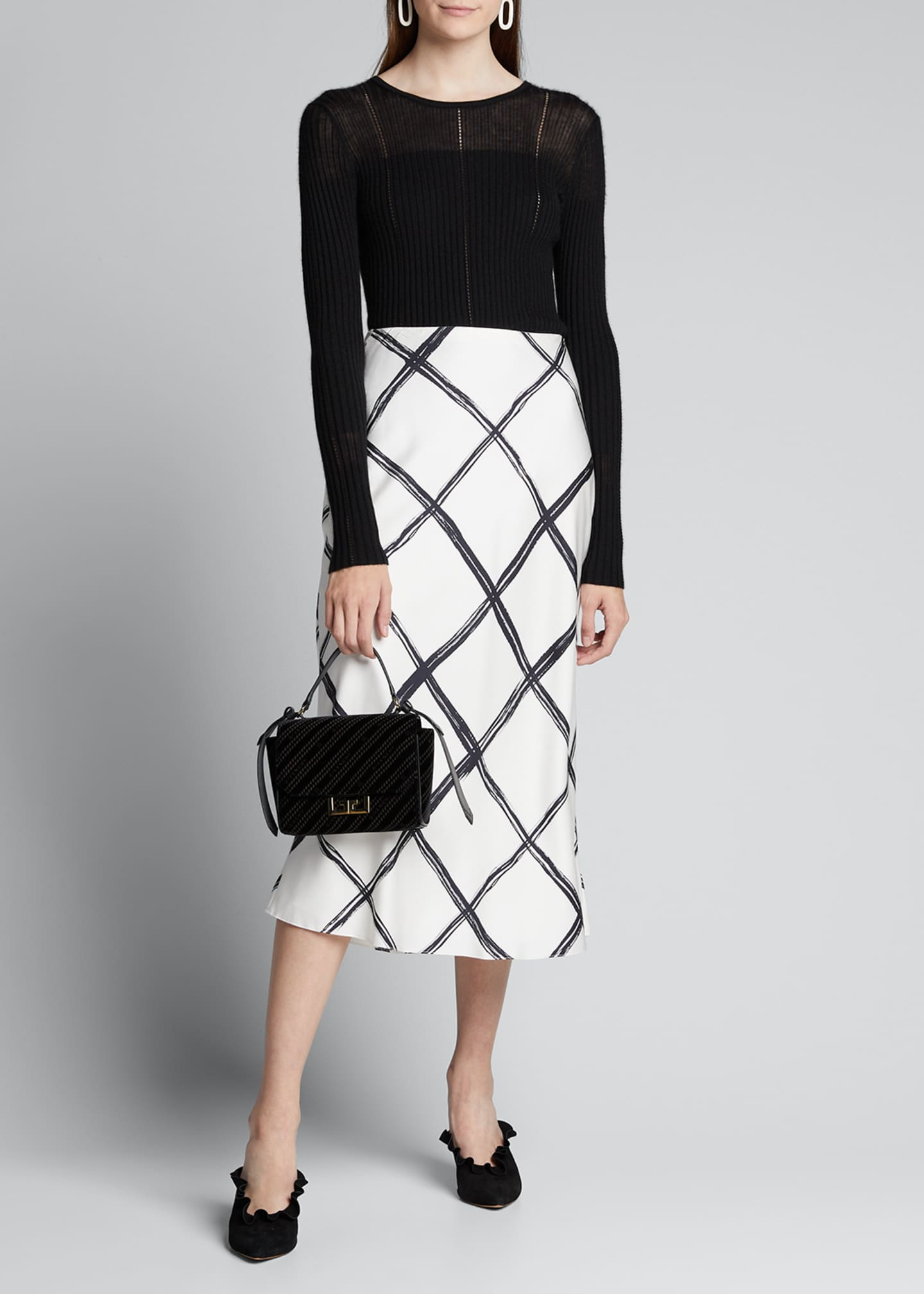 Jason Wu Collection Windowpane Print Silk Crepe de