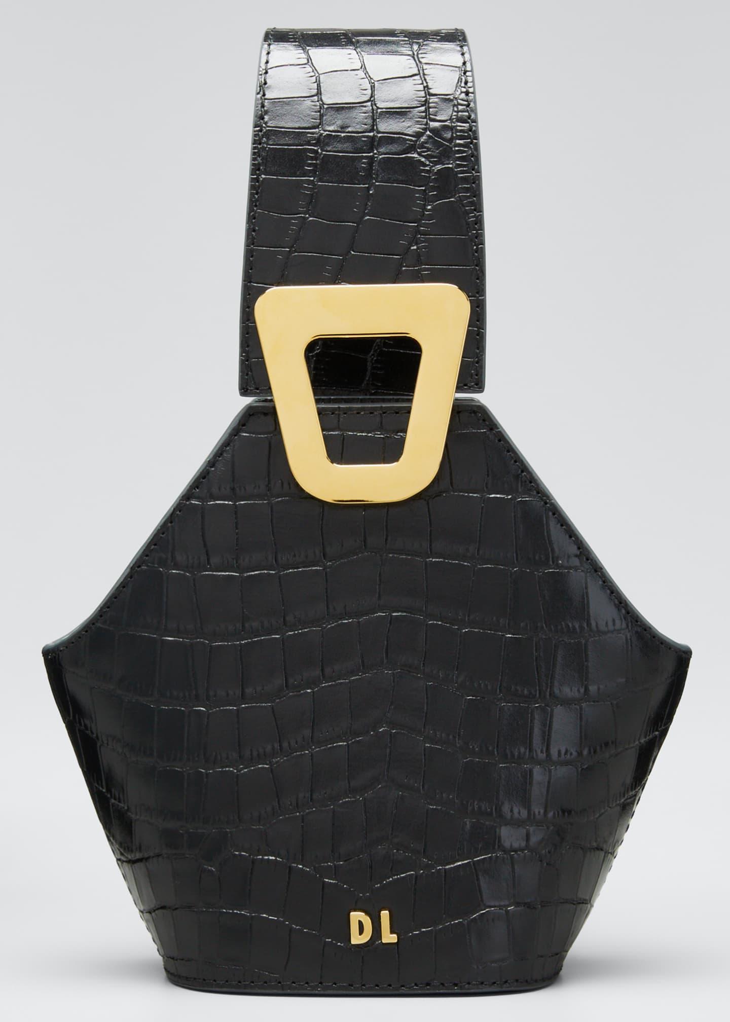 Danse Lente Johnny Mock-Croc Leather Hexagon Shoulder Bag