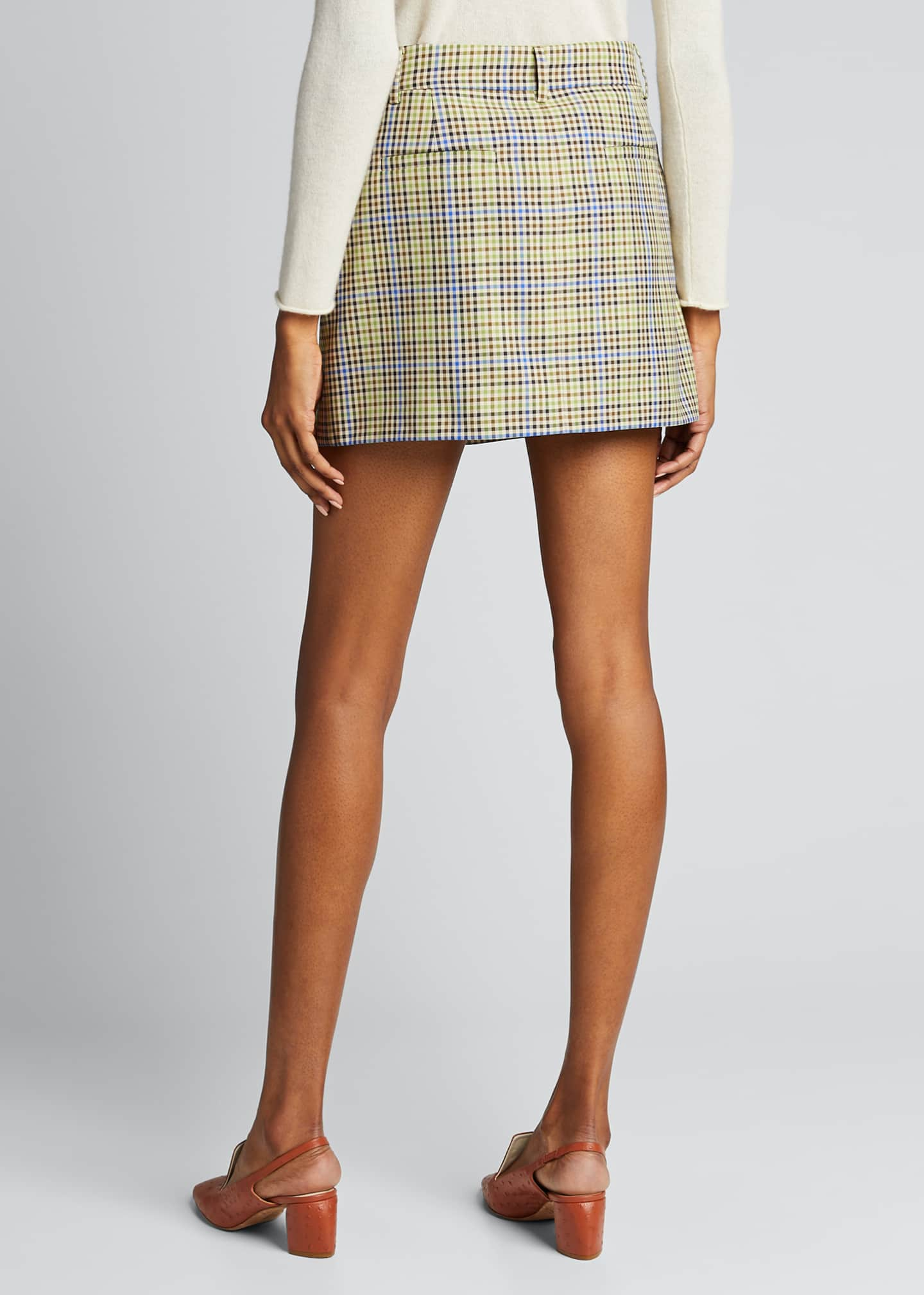Image 2 of 5: Recycled Menswear Check Mini Skirt