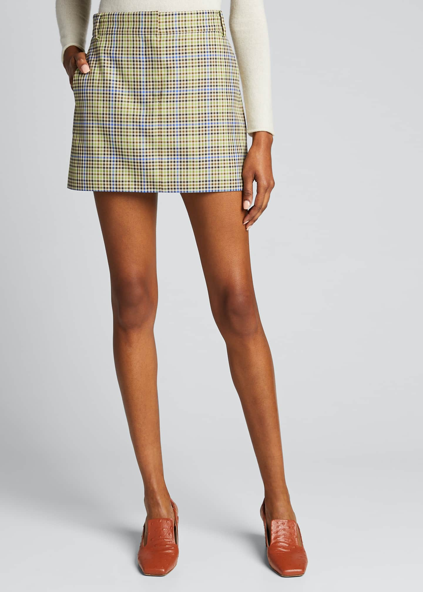 Image 3 of 5: Recycled Menswear Check Mini Skirt