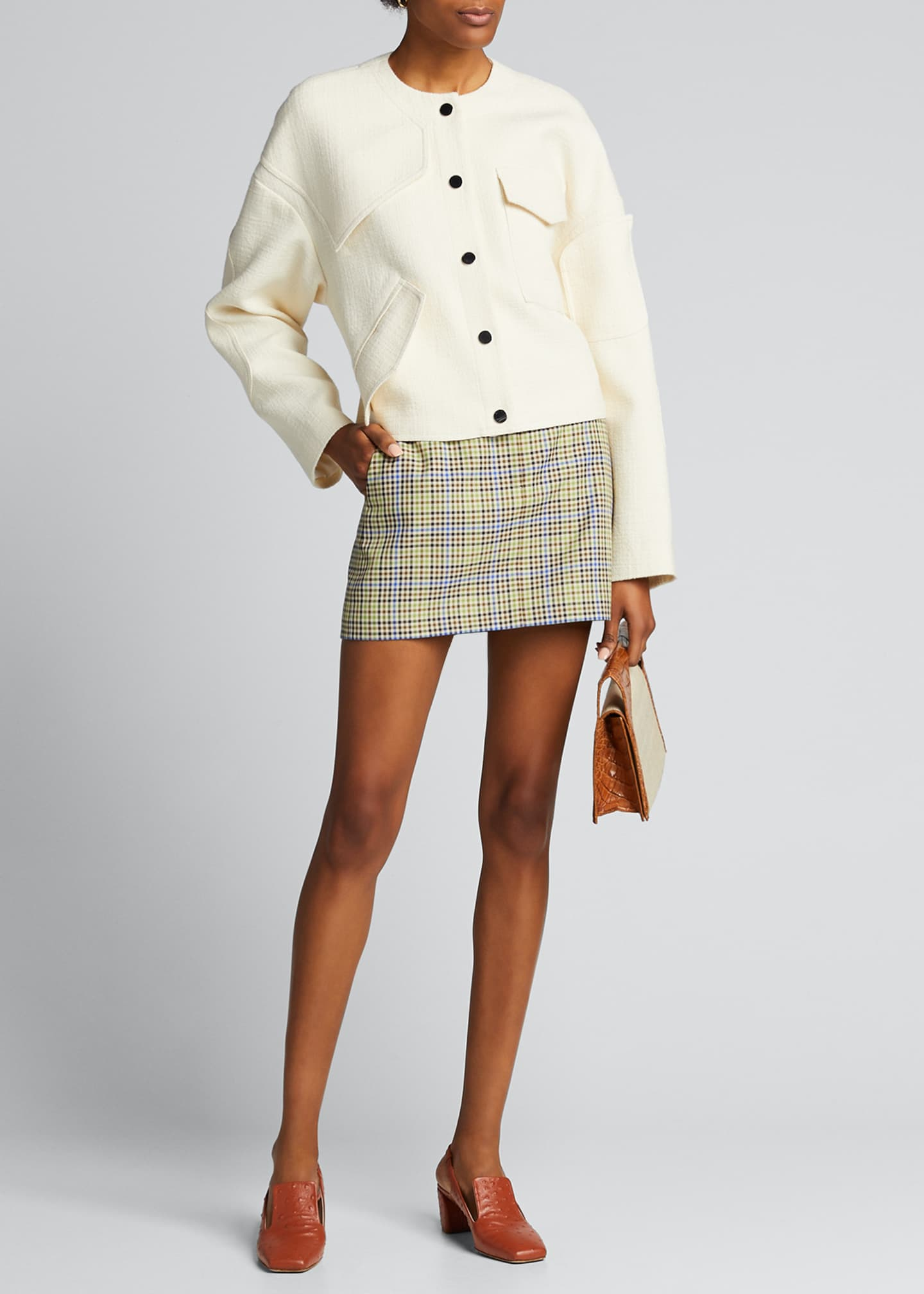 Image 1 of 5: Recycled Menswear Check Mini Skirt