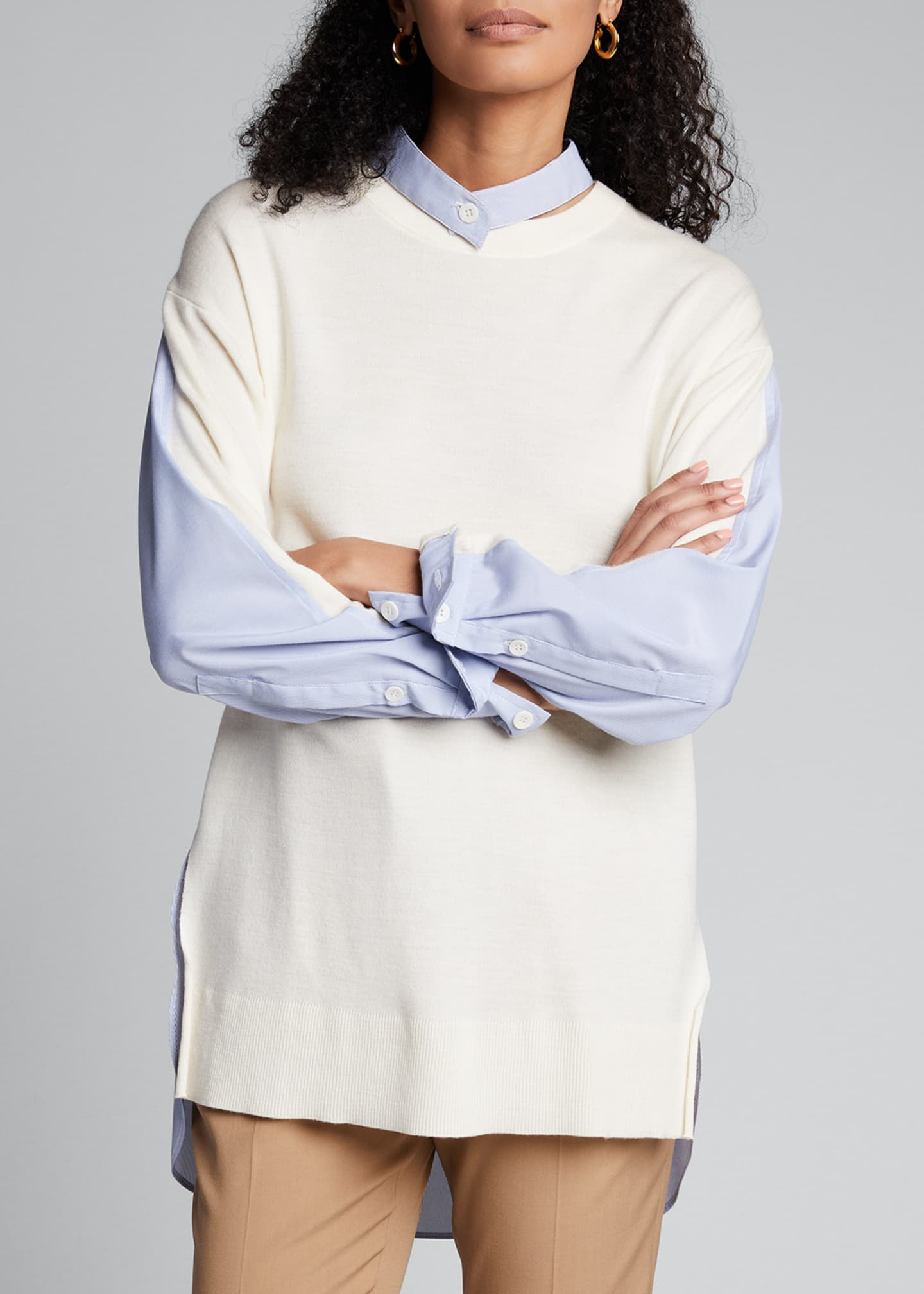 Image 3 of 5: Wool Sweater with Shirt Trim