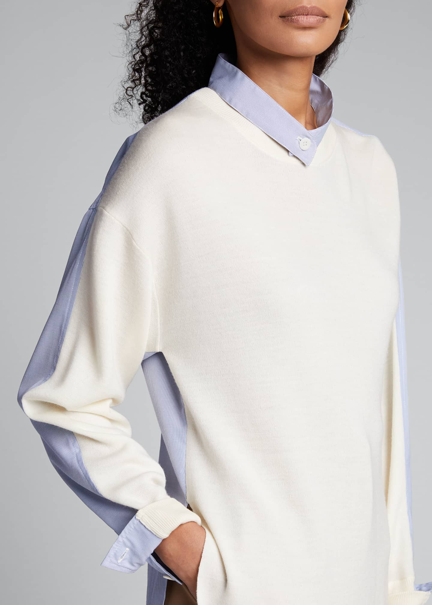 Image 4 of 5: Wool Sweater with Shirt Trim