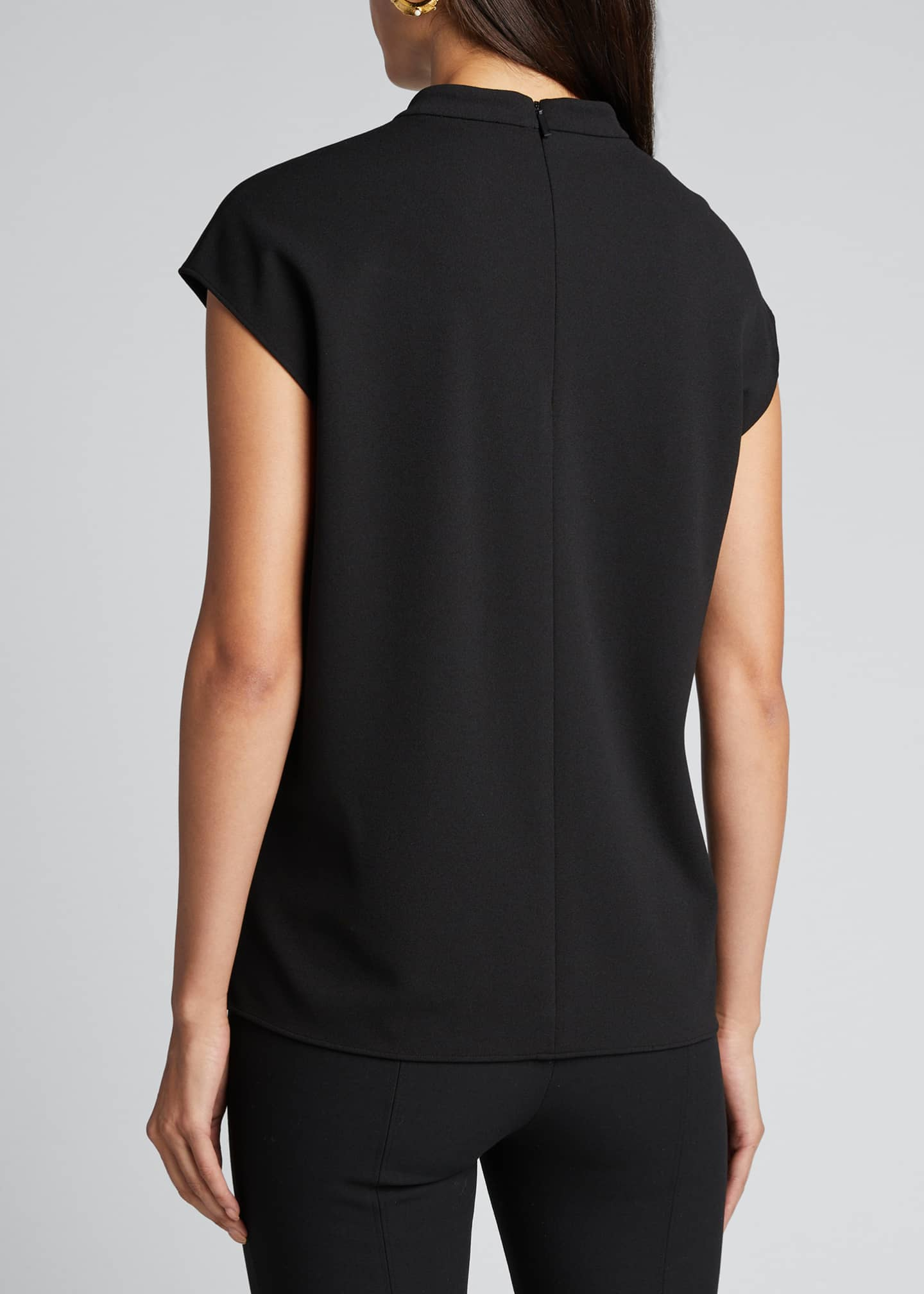 Image 2 of 5: Structured Crepe Mock-Neck Sleeveless Top