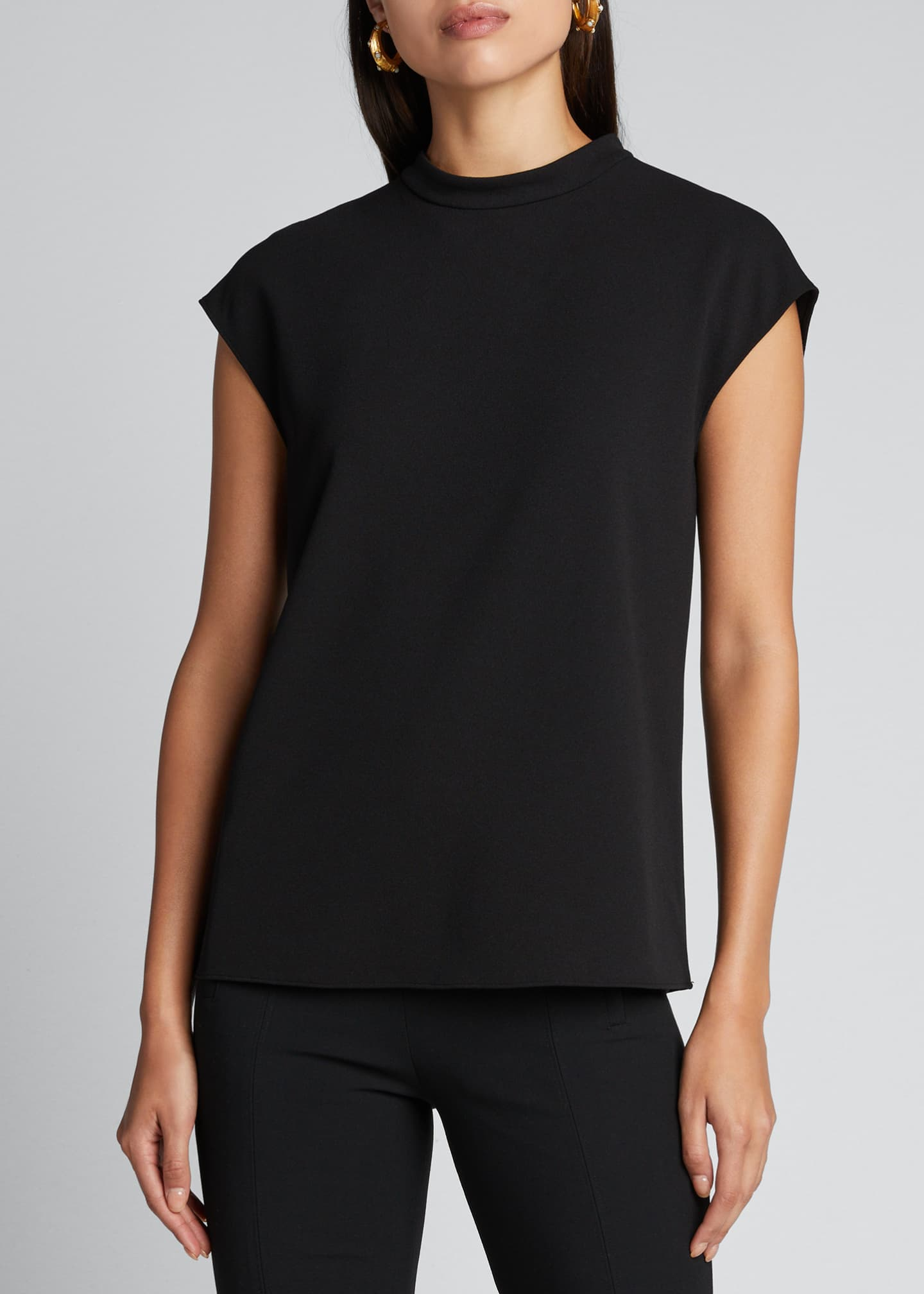 Image 3 of 5: Structured Crepe Mock-Neck Sleeveless Top