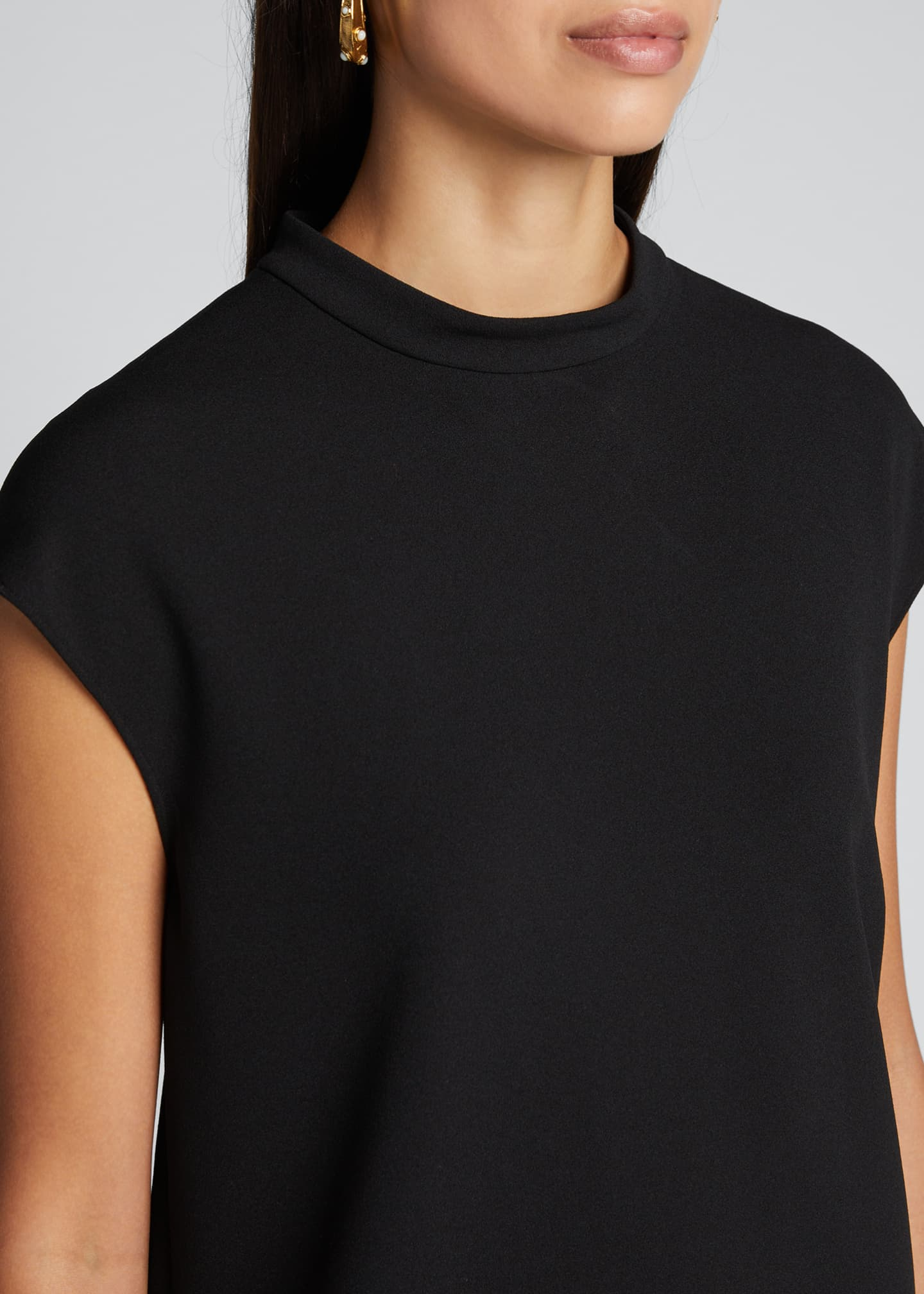 Image 4 of 5: Structured Crepe Mock-Neck Sleeveless Top