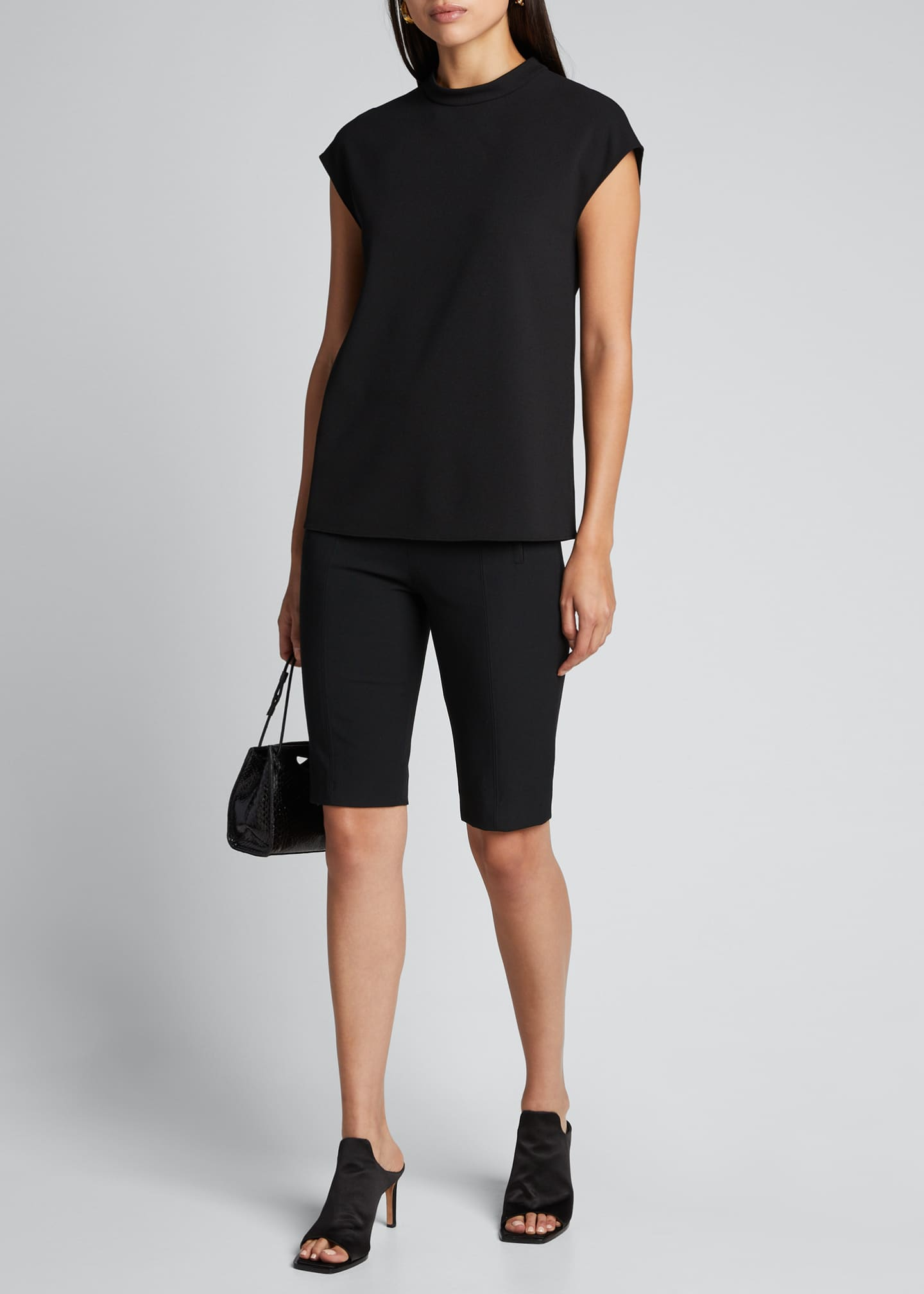 Image 1 of 5: Structured Crepe Mock-Neck Sleeveless Top