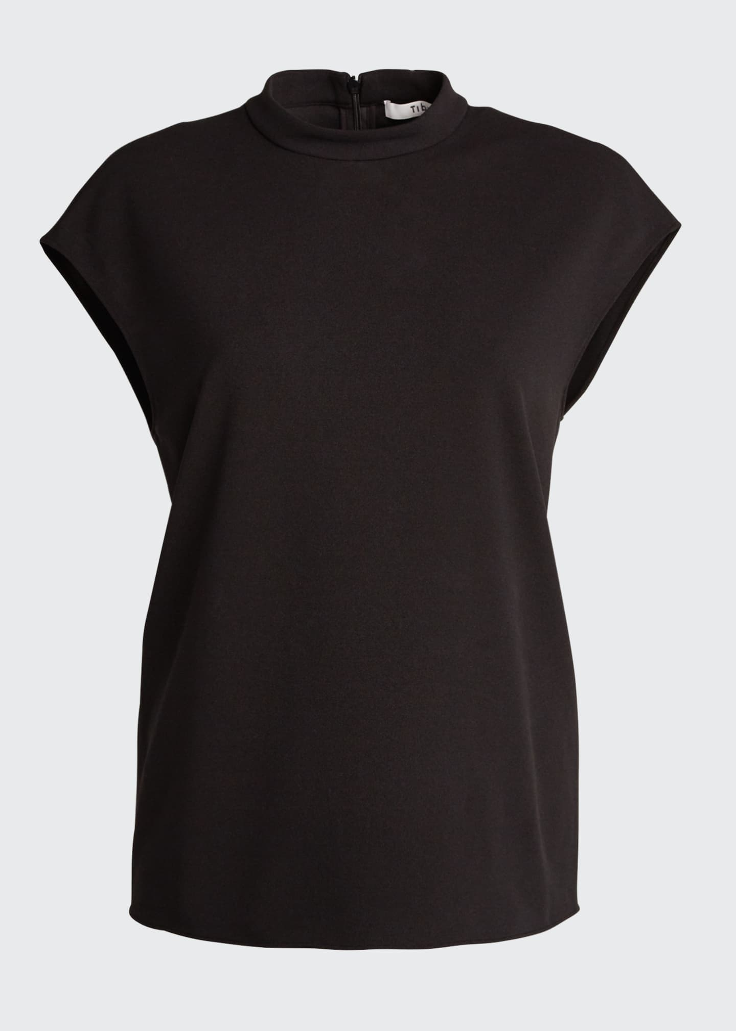 Image 5 of 5: Structured Crepe Mock-Neck Sleeveless Top