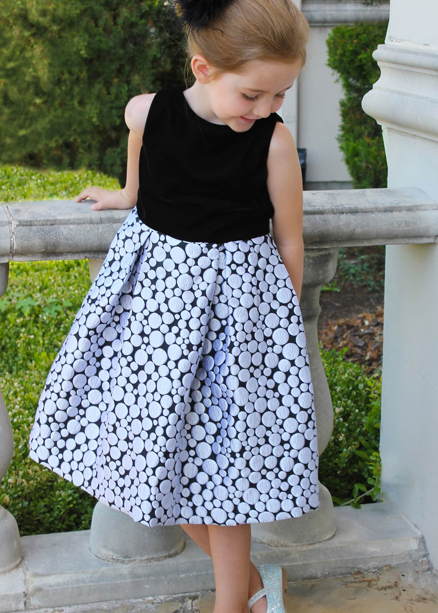 Image 2 of 2: Girl's Bubble Brocade Skirt w/ Velvet Top Dress, Size 12M-3
