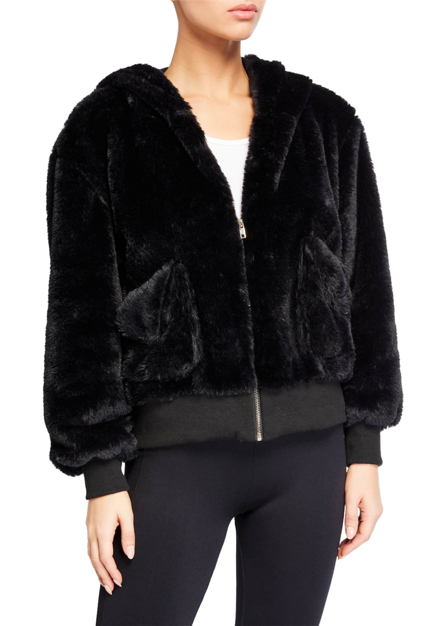 Image 2 of 3: Fuzzy Faux-Fur Hooded Teddy Jacket