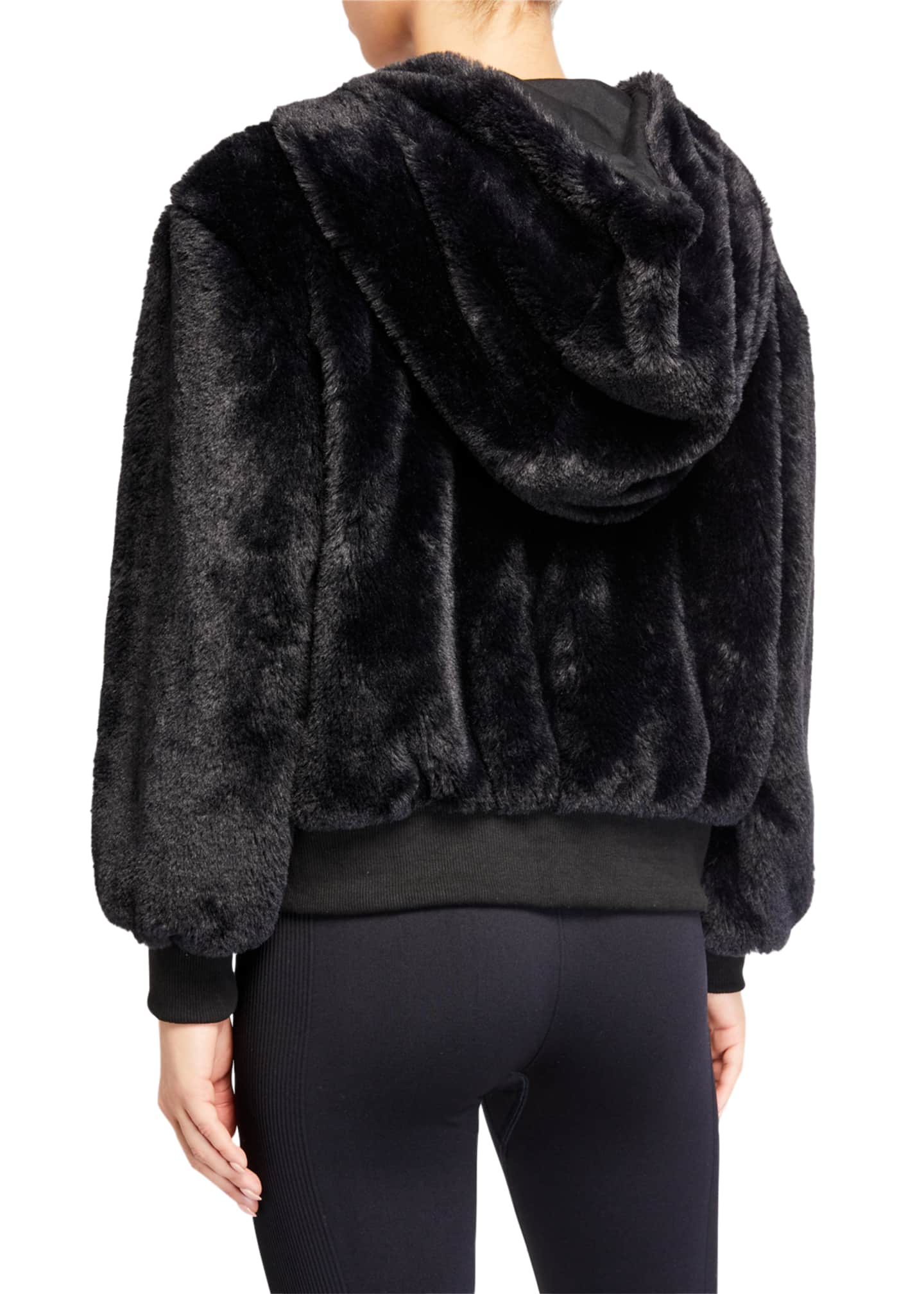 Image 3 of 3: Fuzzy Faux-Fur Hooded Teddy Jacket