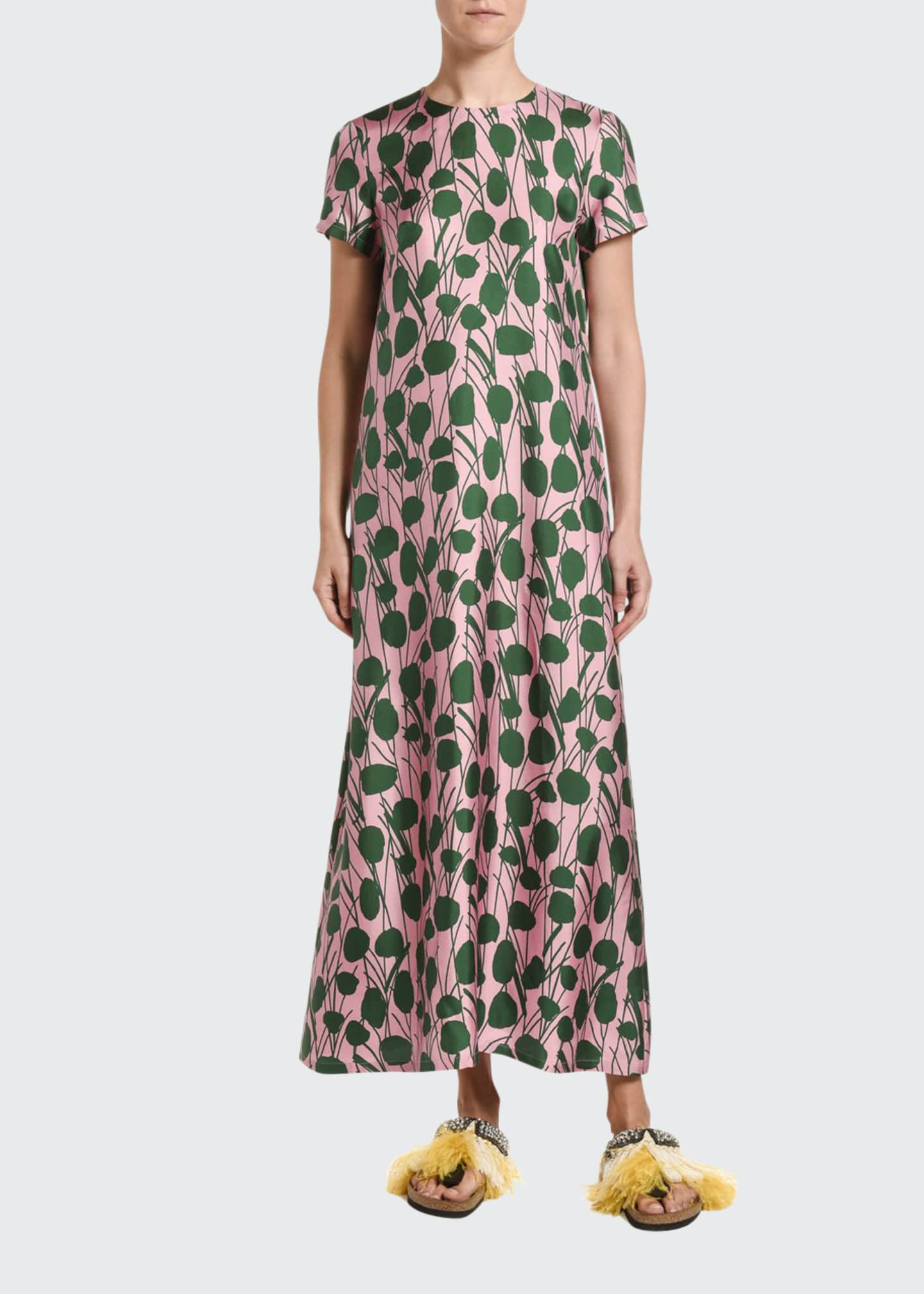Double J Floral Print Silk Swing Dress