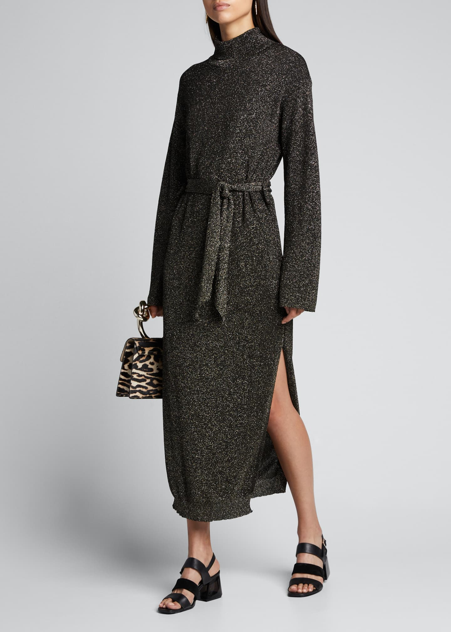 Nanushka Canaan Metallic Mock-Neck Long Sweater Dress