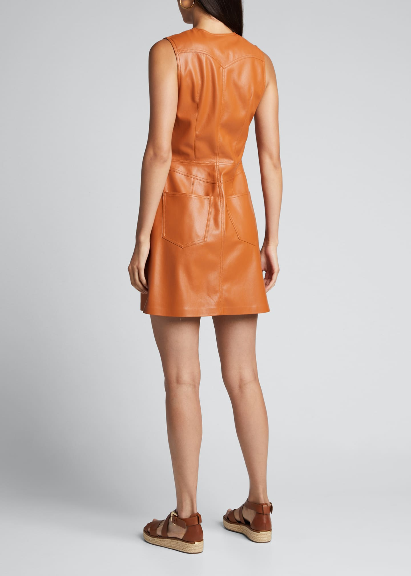 Image 2 of 5: Menphi Vegan Leather Button-Front Dress