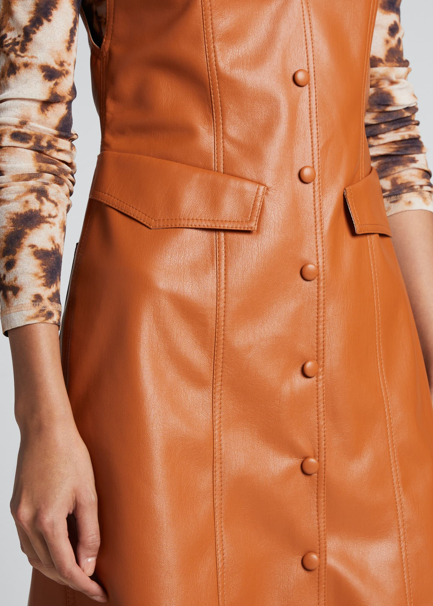 Image 4 of 5: Menphi Vegan Leather Button-Front Dress