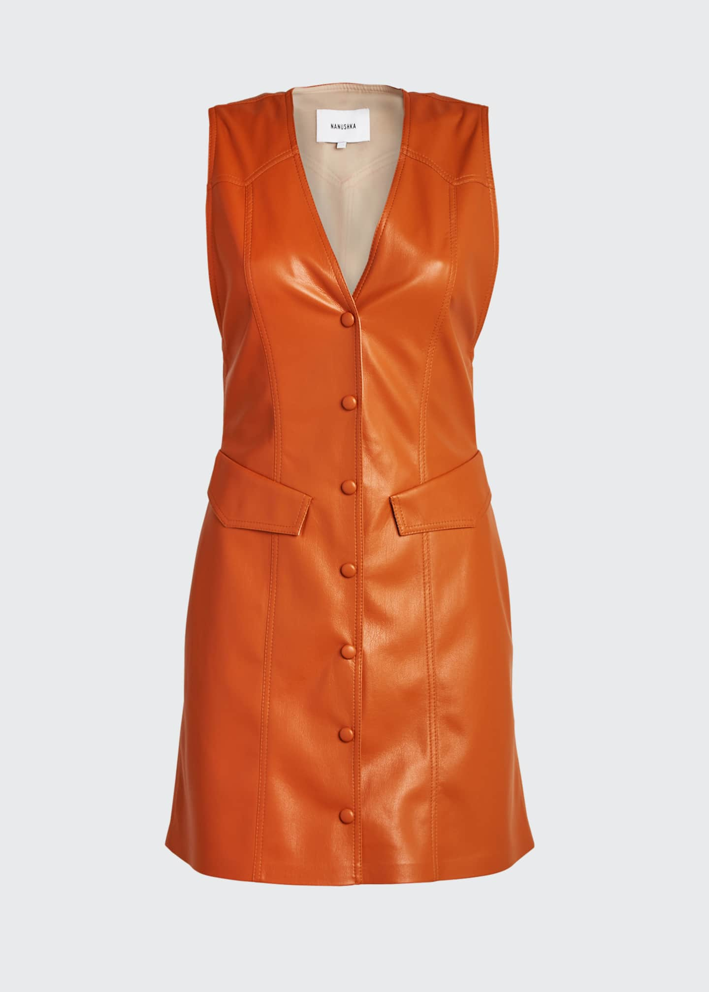 Image 5 of 5: Menphi Vegan Leather Button-Front Dress