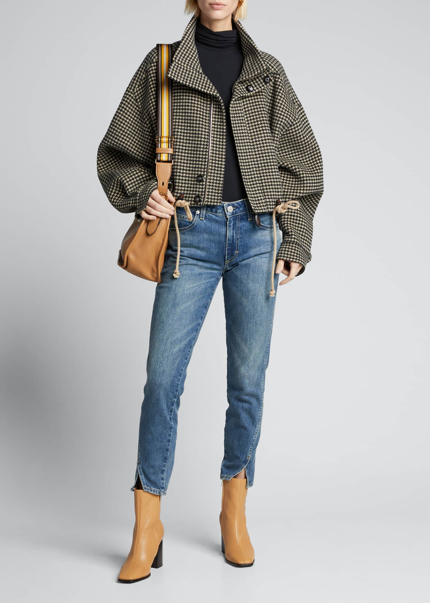 Nanushka Houndstooth Crop Jacket with Faux-Leather Trim