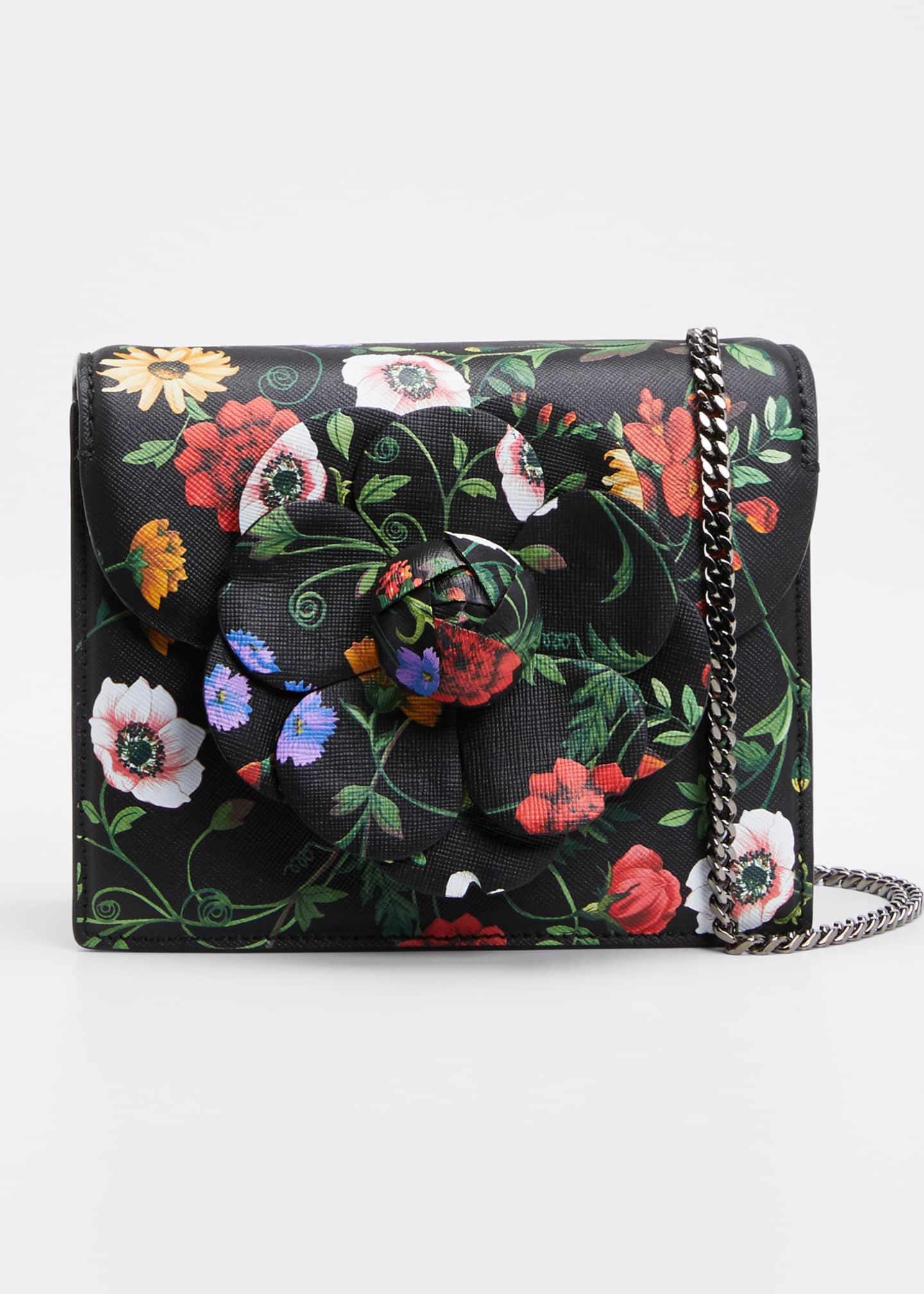 Oscar de la Renta Mini Tro Floral-Print Leather
