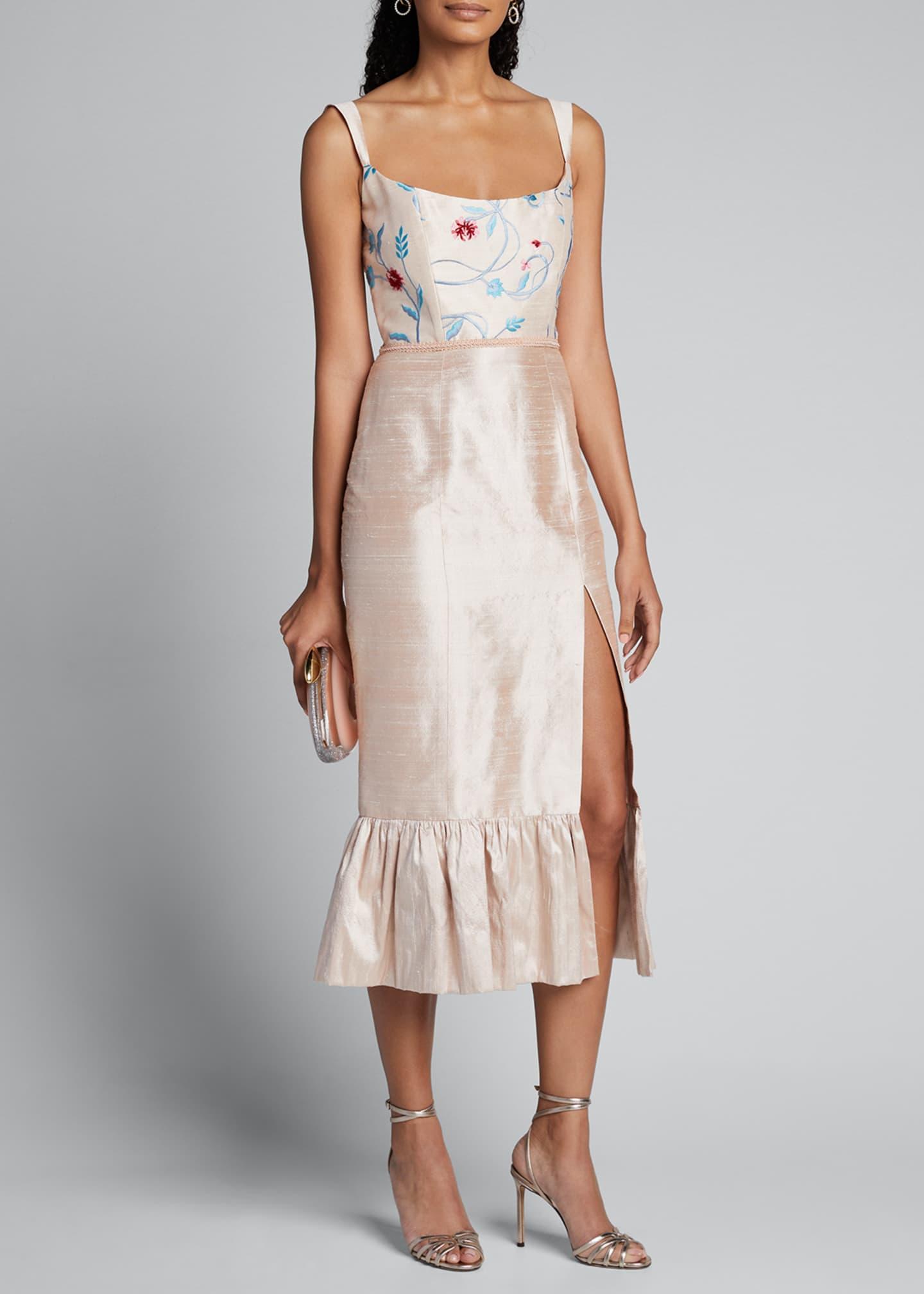 Markarian Floral Embroidered Silk Twill Ruffle Hem Dress