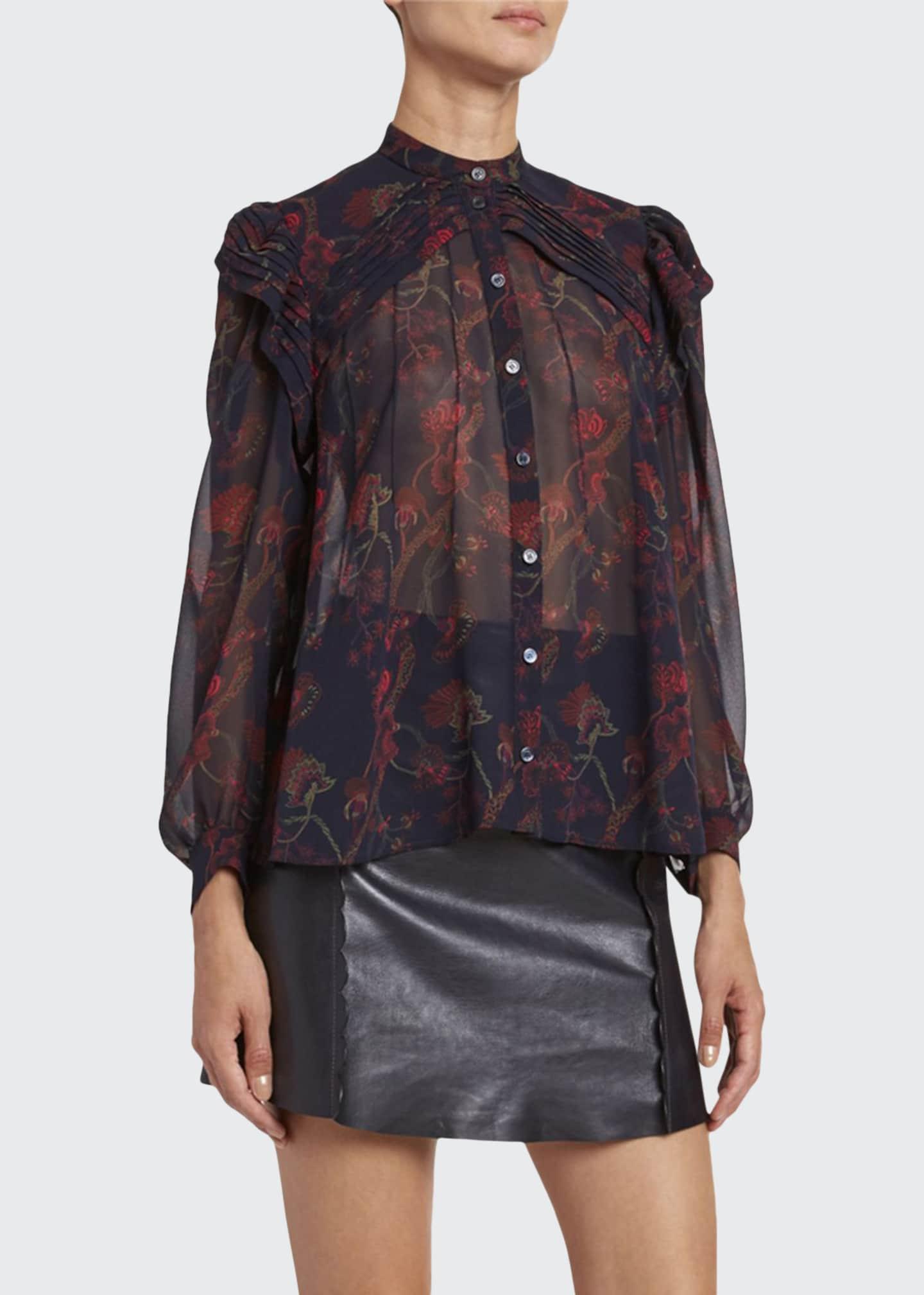 Chloe Floral-Print Silk Long-Sleeve Blouse
