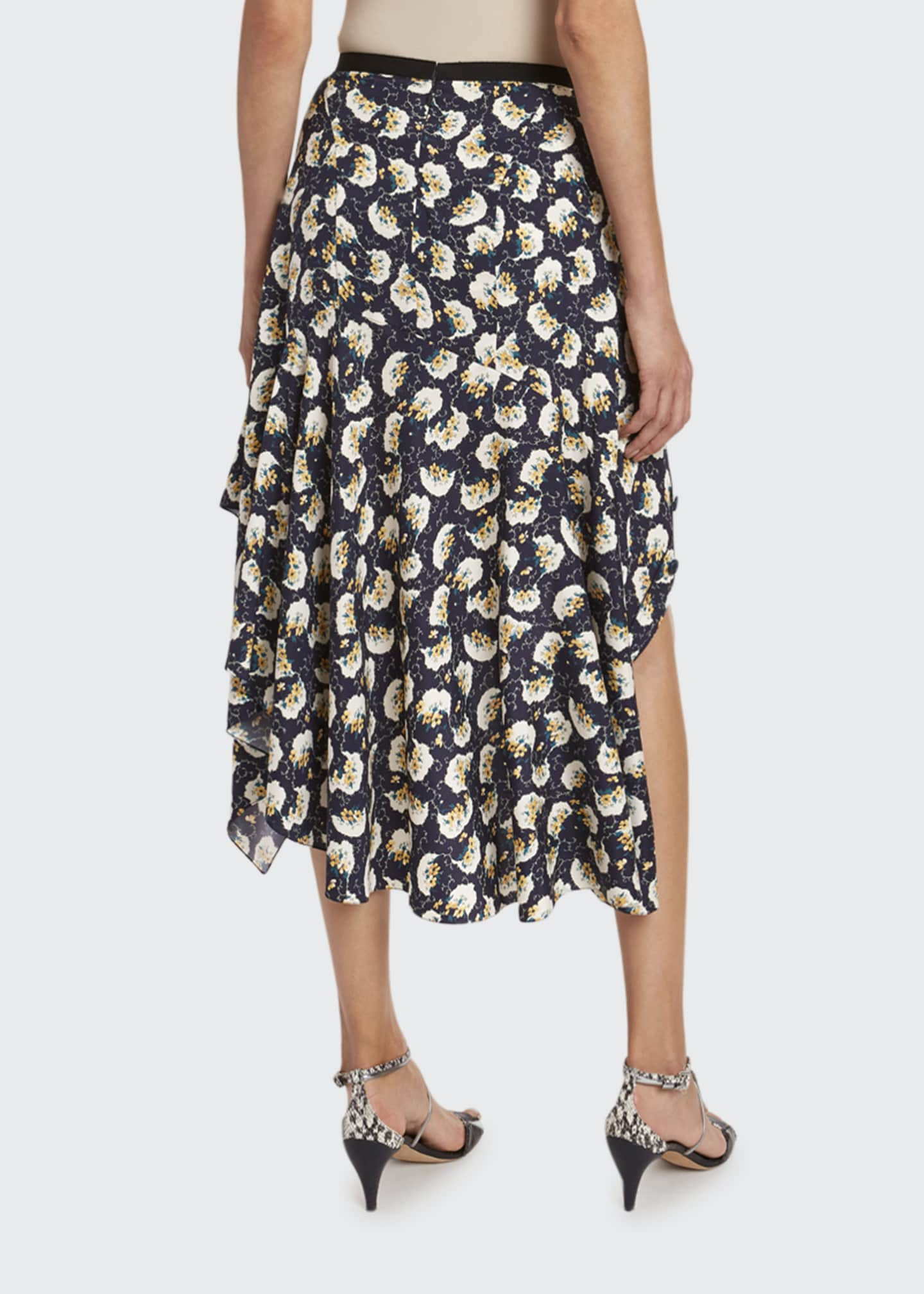 Image 2 of 2: Bouquet-Print Silk Asymmetric Skirt