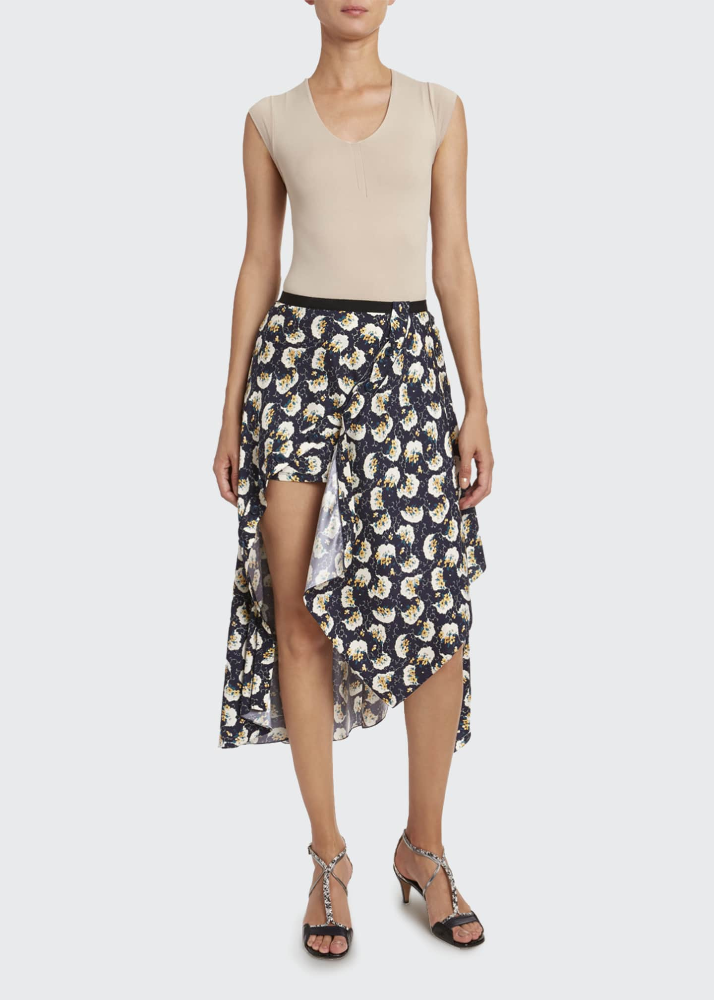 Image 1 of 2: Bouquet-Print Silk Asymmetric Skirt