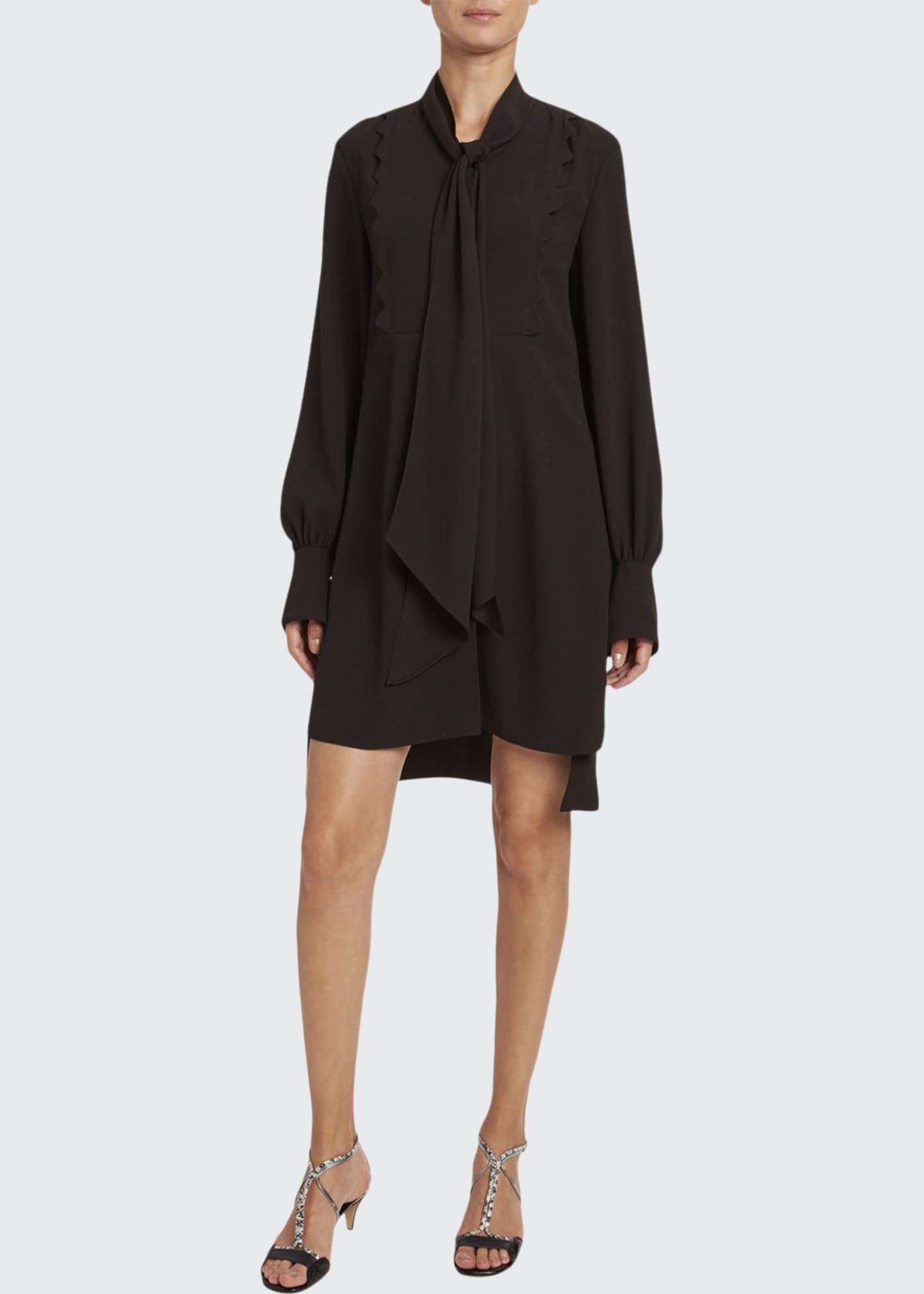 Chloe Satin-Back Crepe Short-Sleeve Dress
