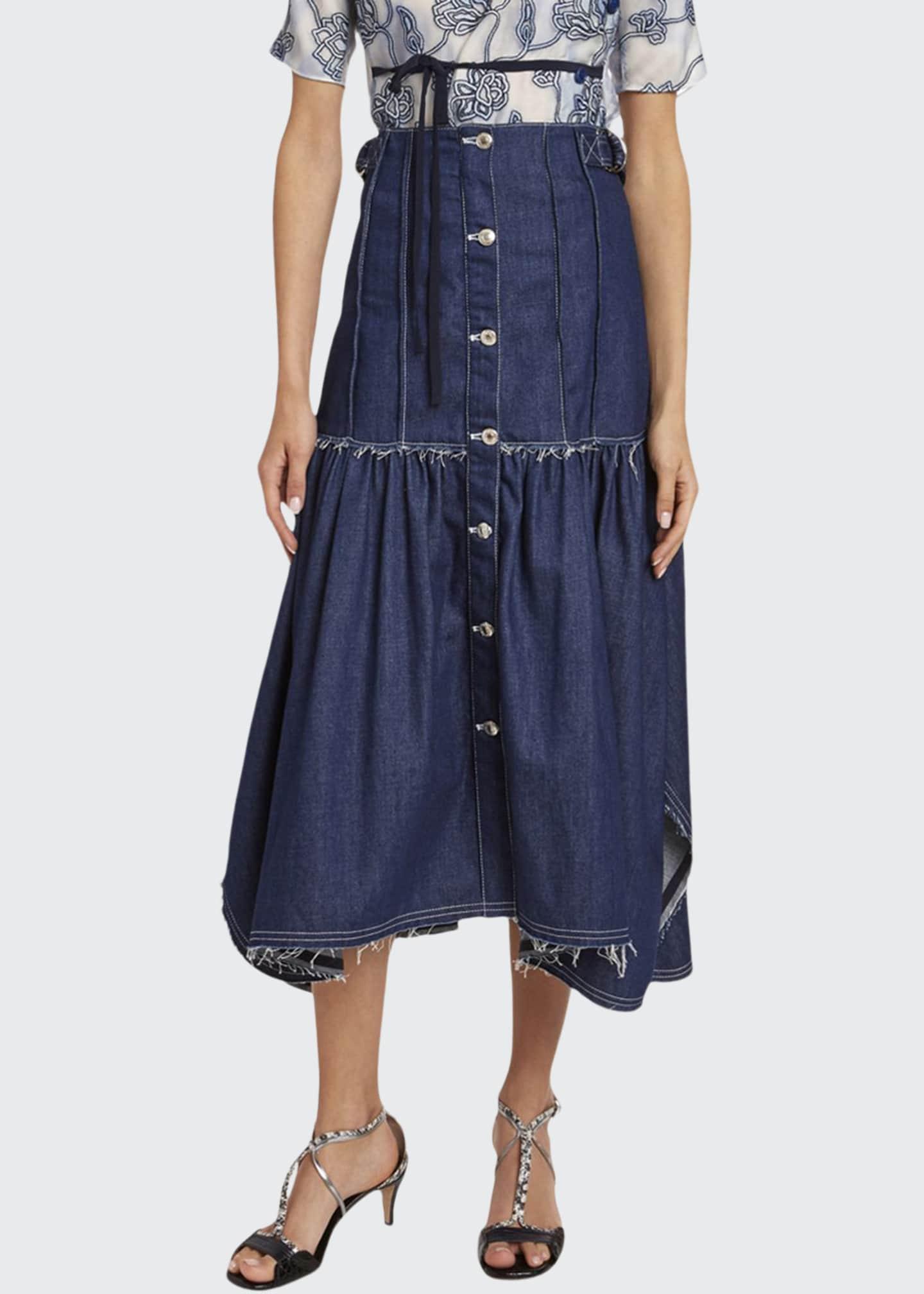 Chloe Distressed Denim Midi Skirt