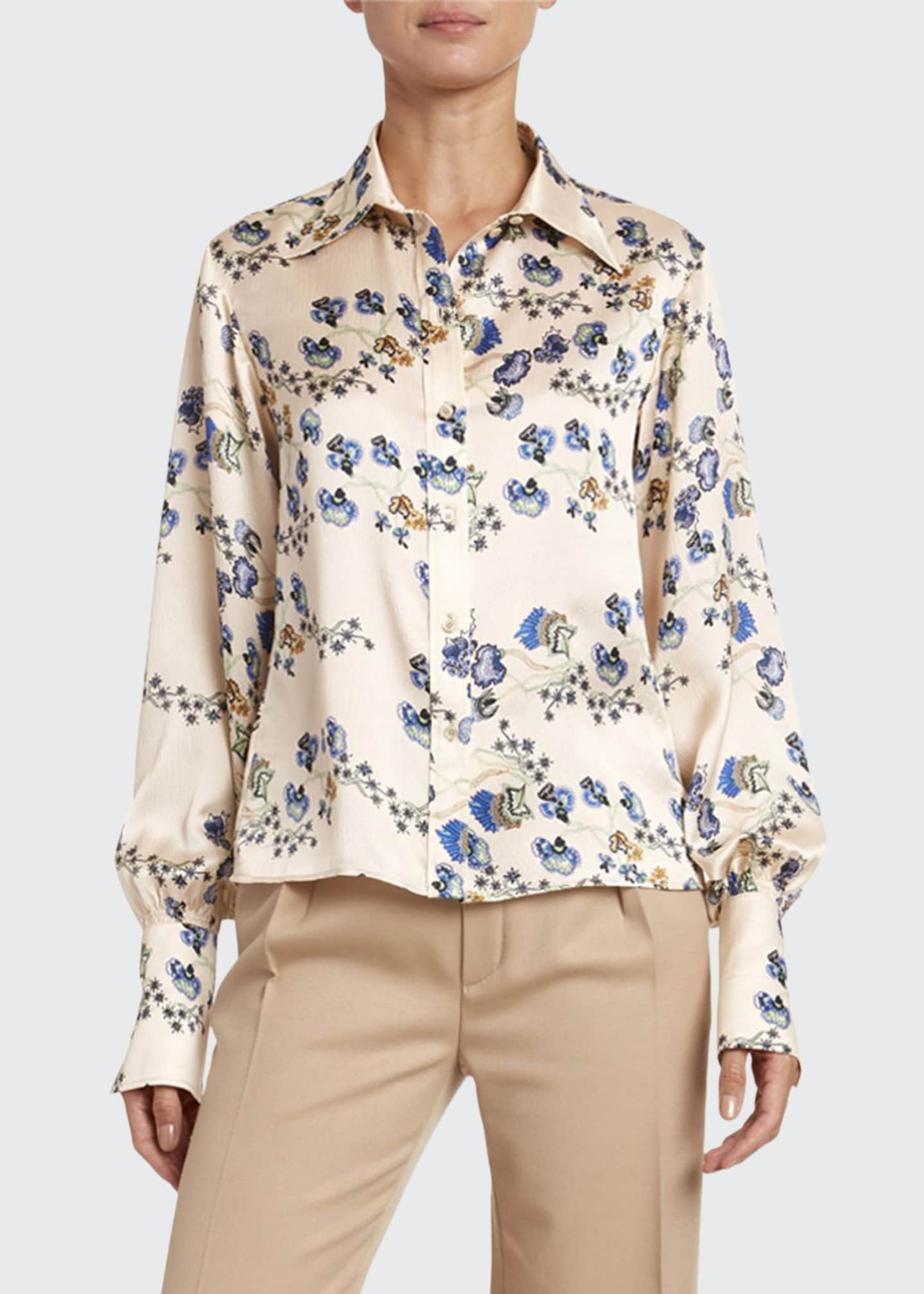 Chloe Flower-Print Hammered Satin Shirt