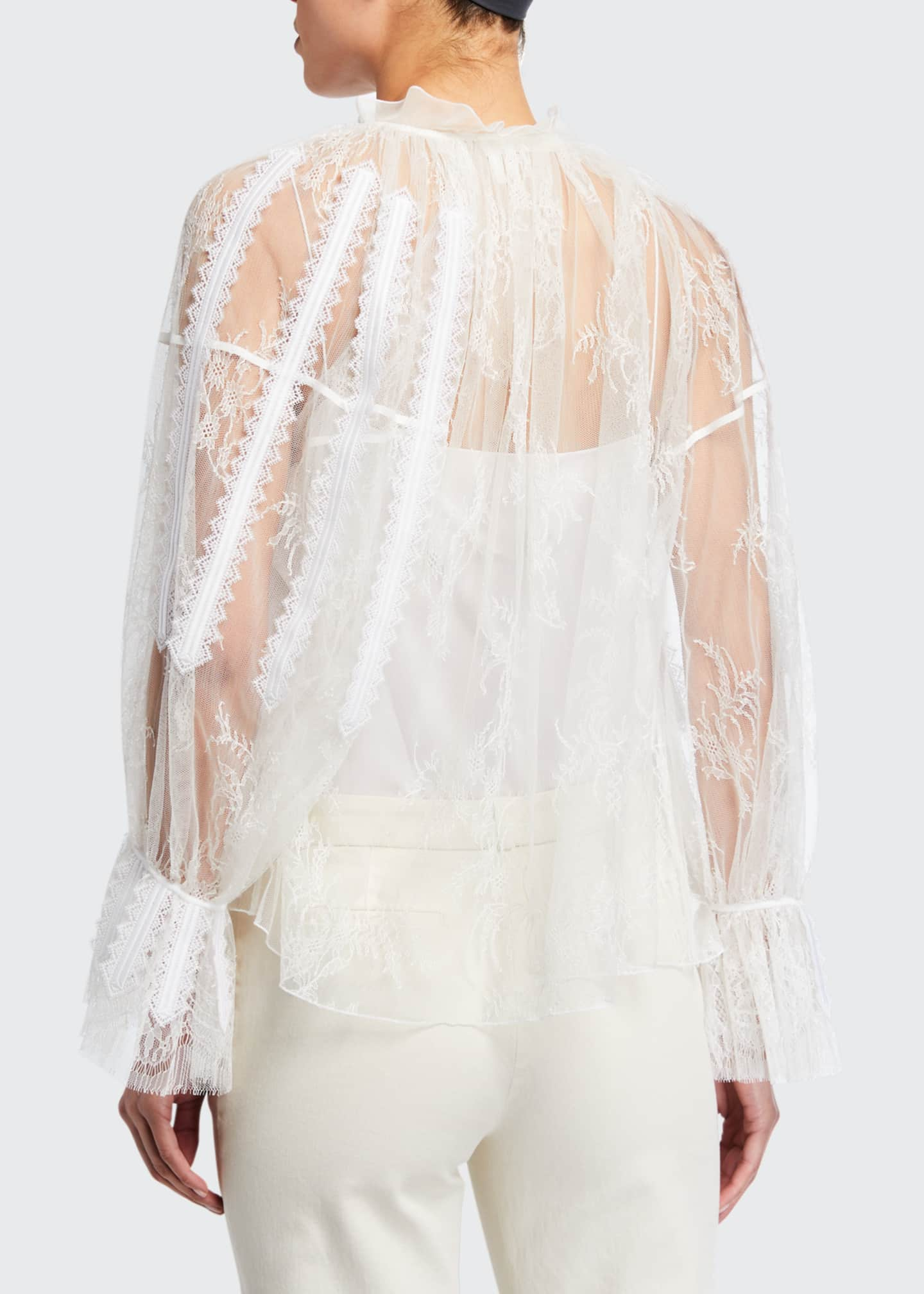 Image 2 of 2: Chantilly Lace Frilled Blouse