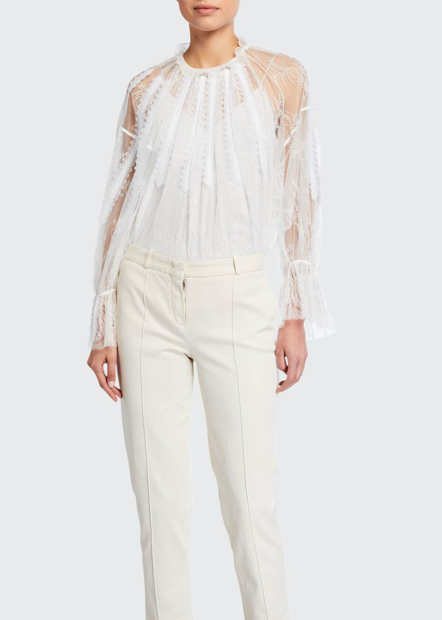 Image 1 of 2: Chantilly Lace Frilled Blouse
