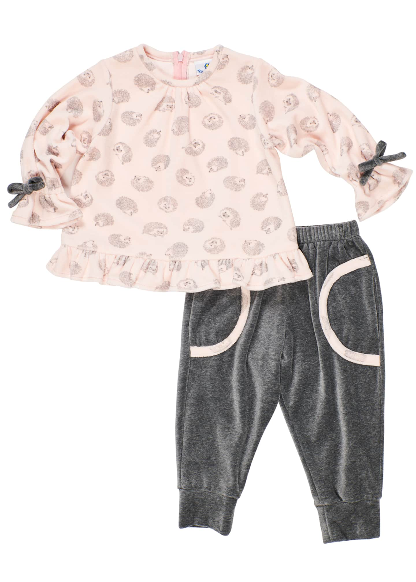 Florence Eiseman Girl's Velour Hedgehog-Print Top w/ Matching
