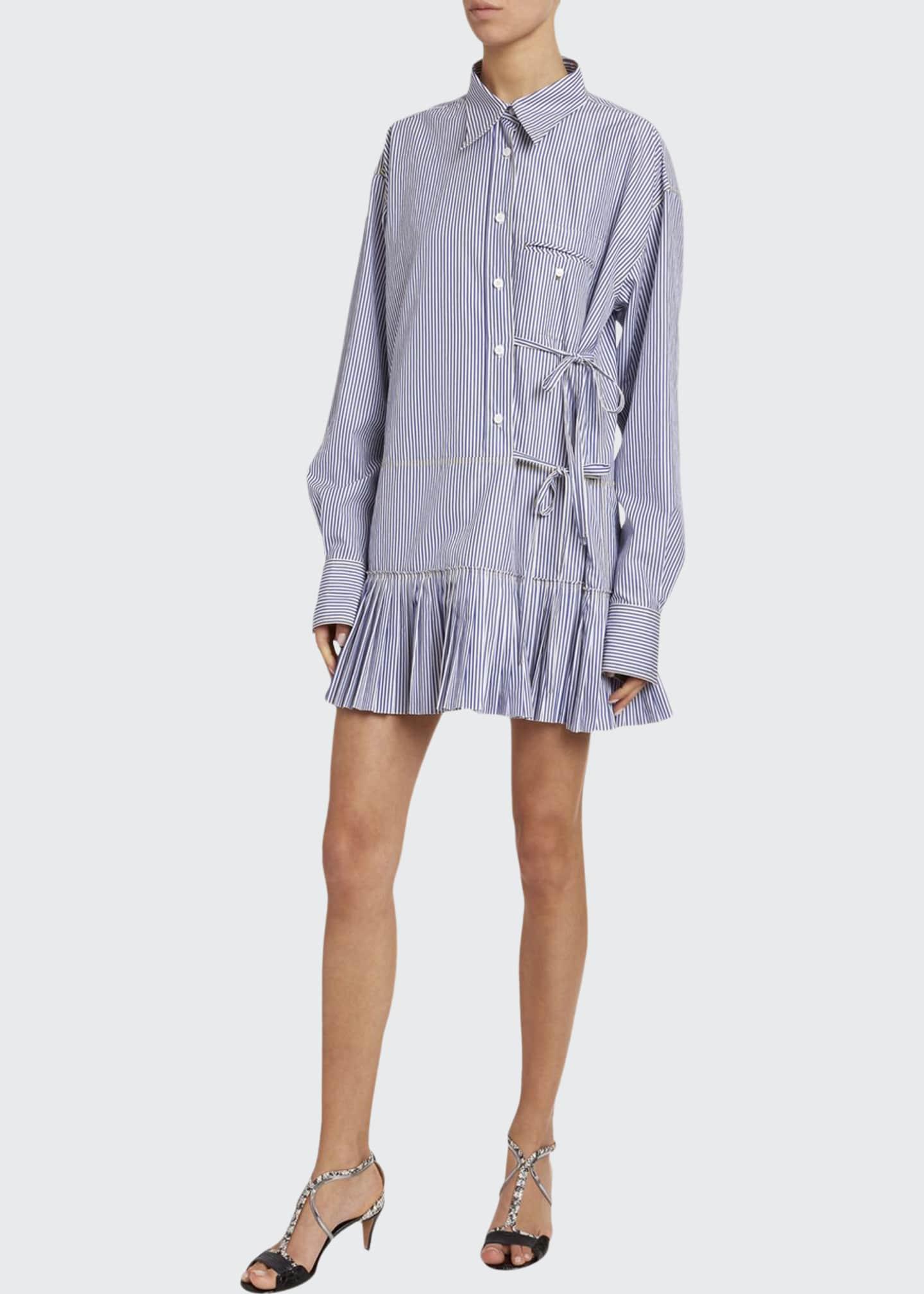 Chloe Striped Poplin Pleated-Hem Dress