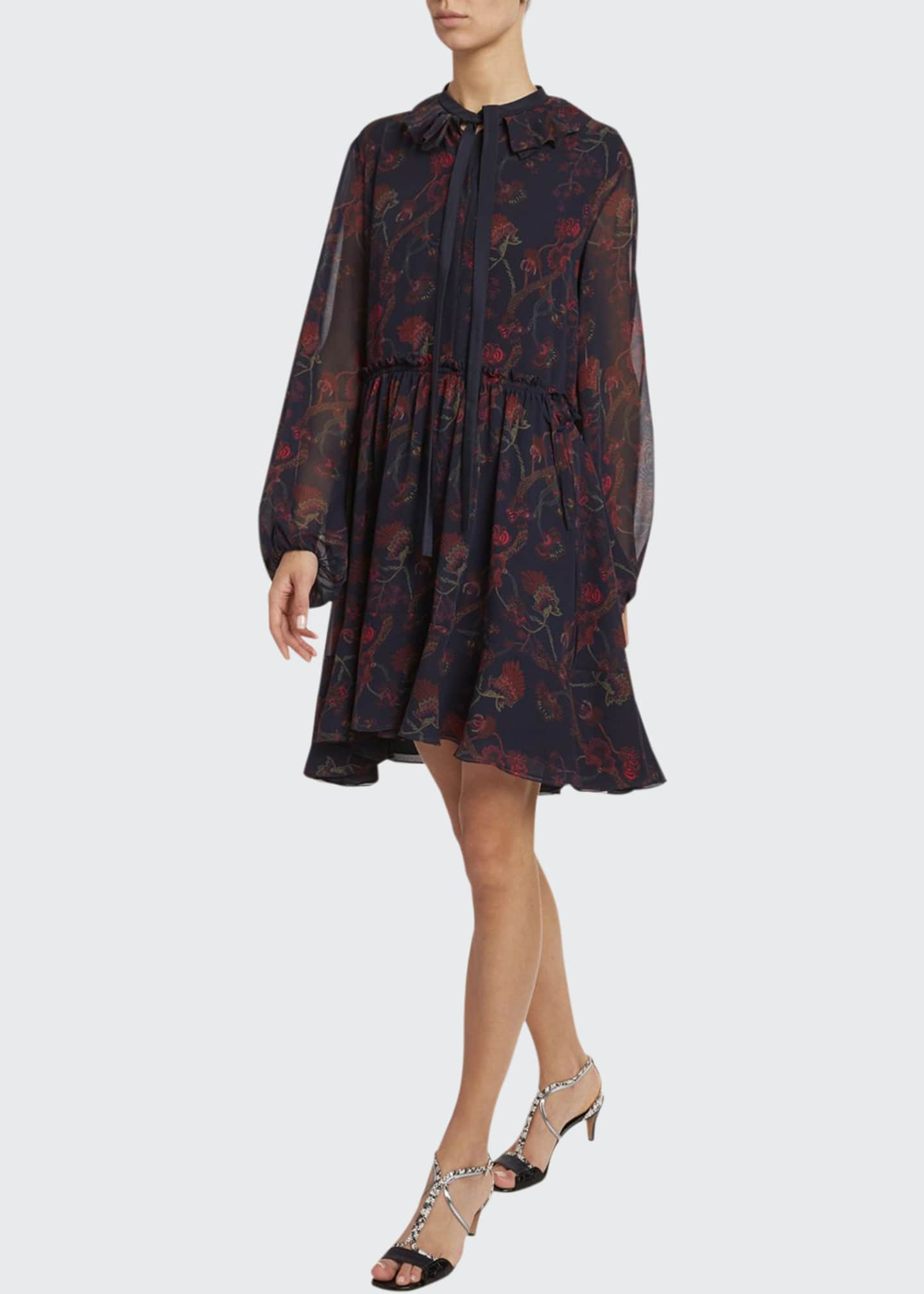 Chloe Floral-Print Silk-Georgette Tie-Neck Dress