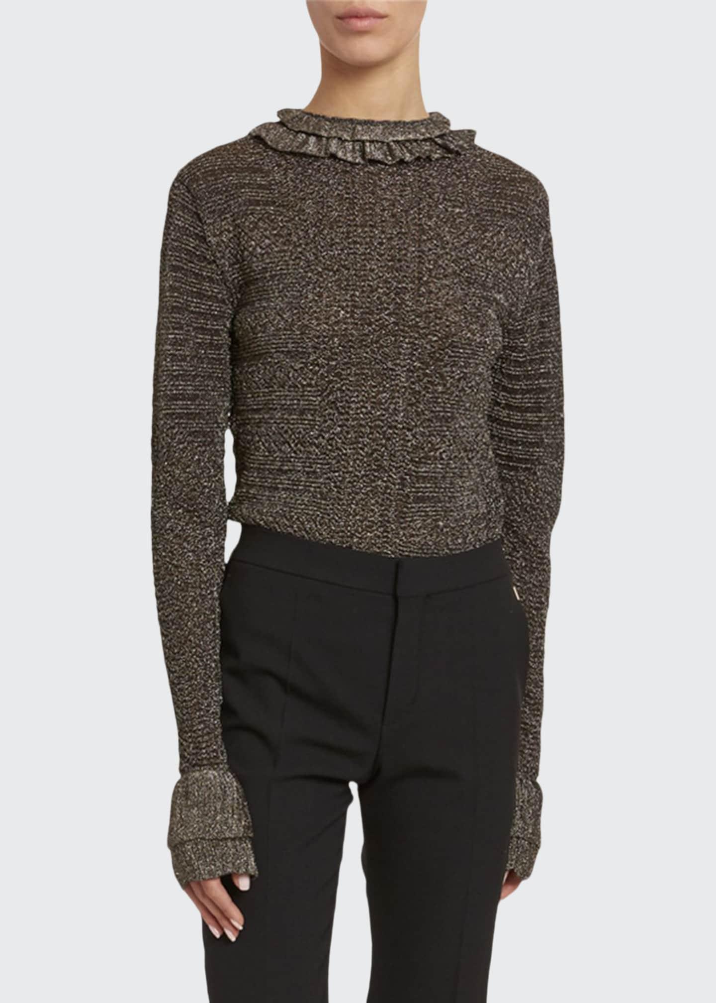 Chloe Metallic-Knit Ruffled High-Neck Sweater