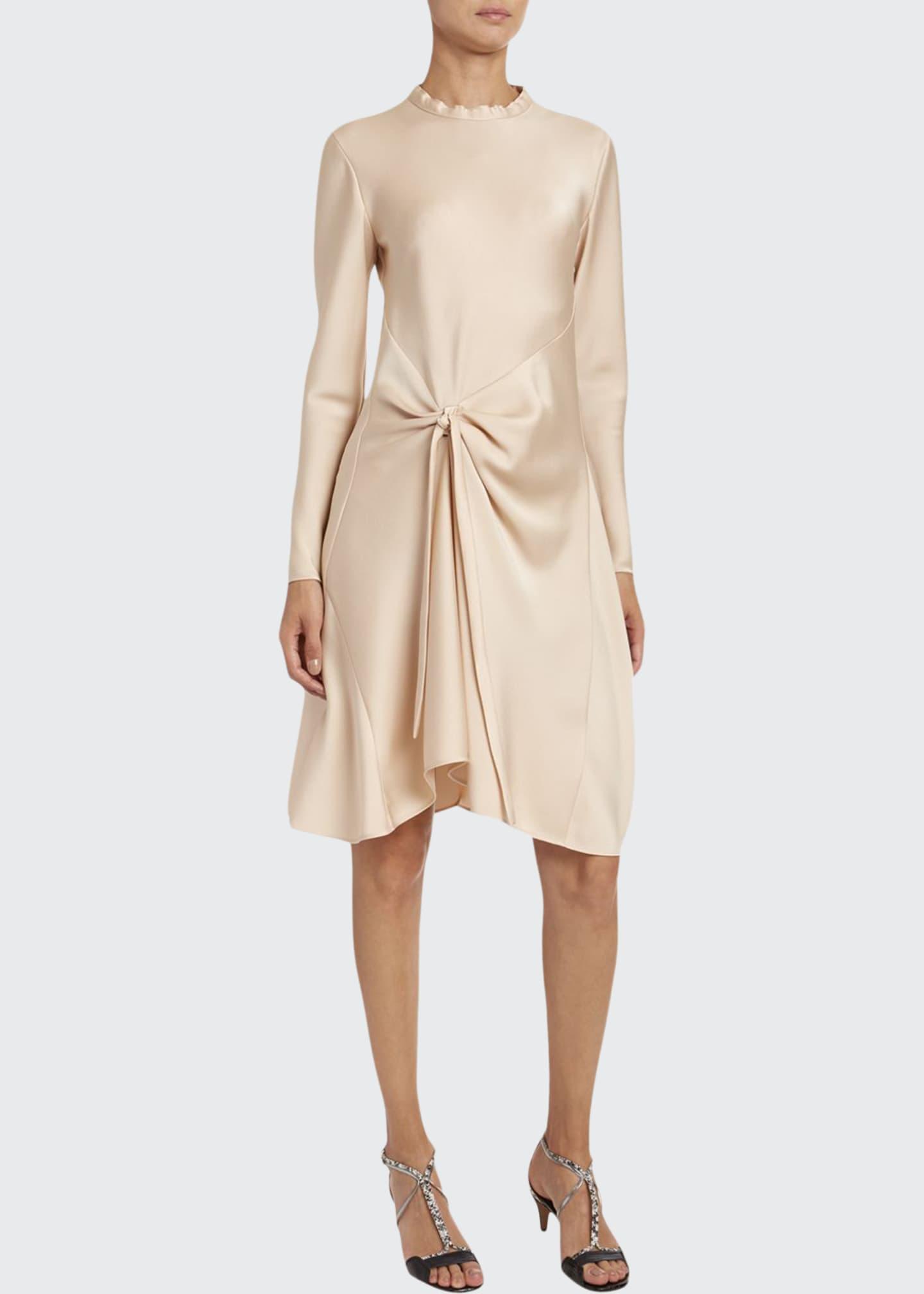 Chloe Fluid Satin Ruched-Side Dress