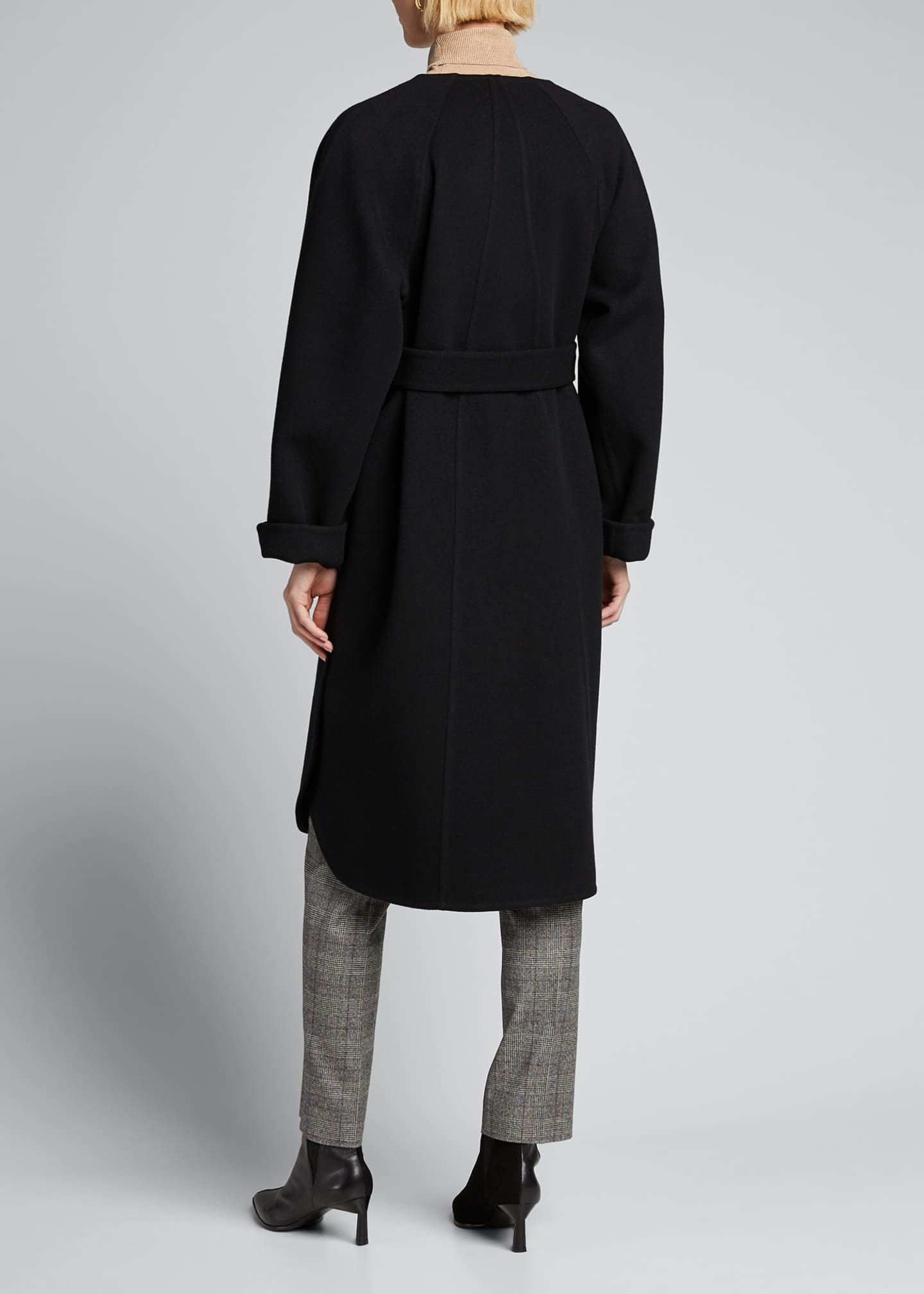 Image 2 of 5: Wool Cashmere Belted Wrap Coat