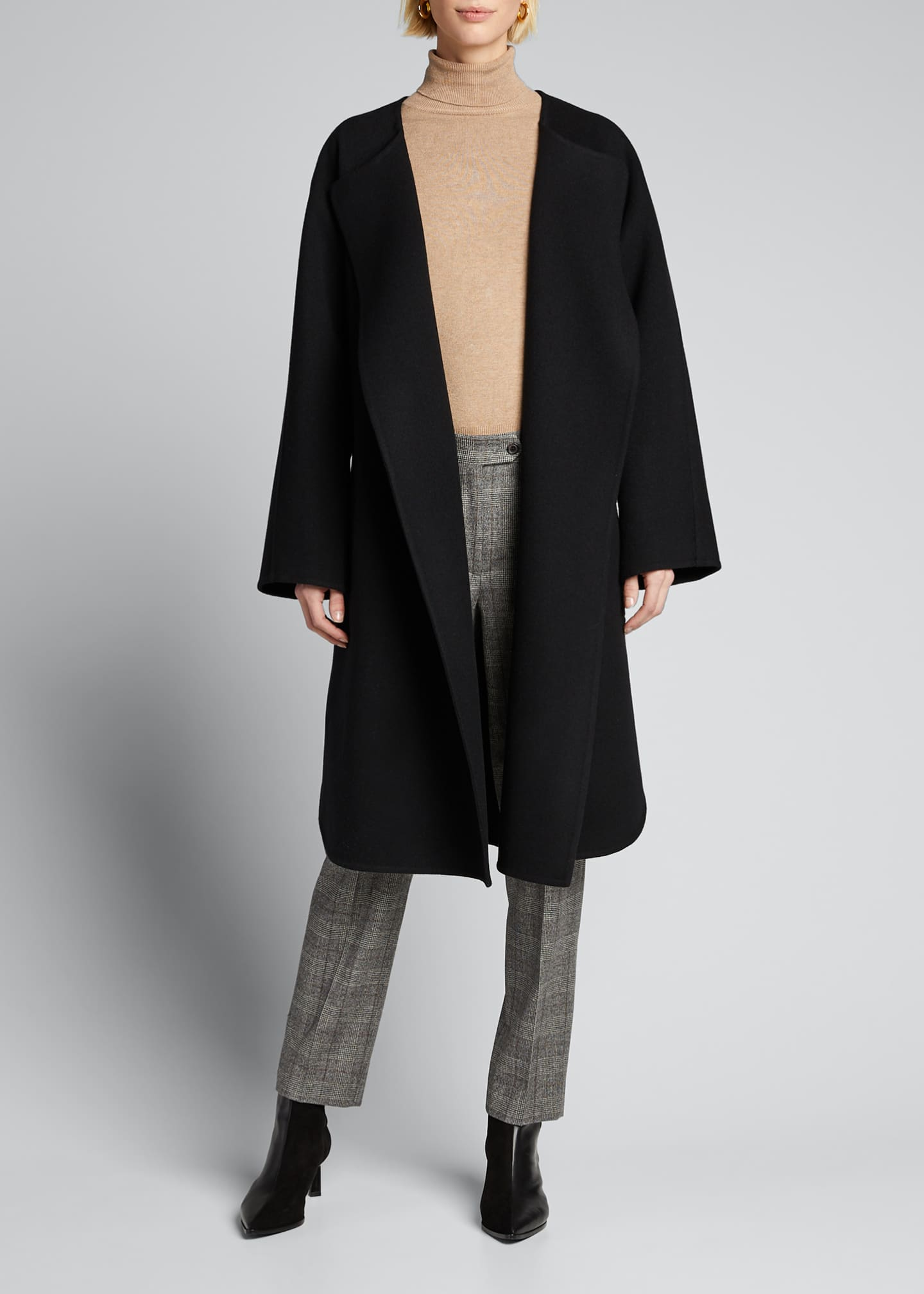 Image 3 of 5: Wool Cashmere Belted Wrap Coat