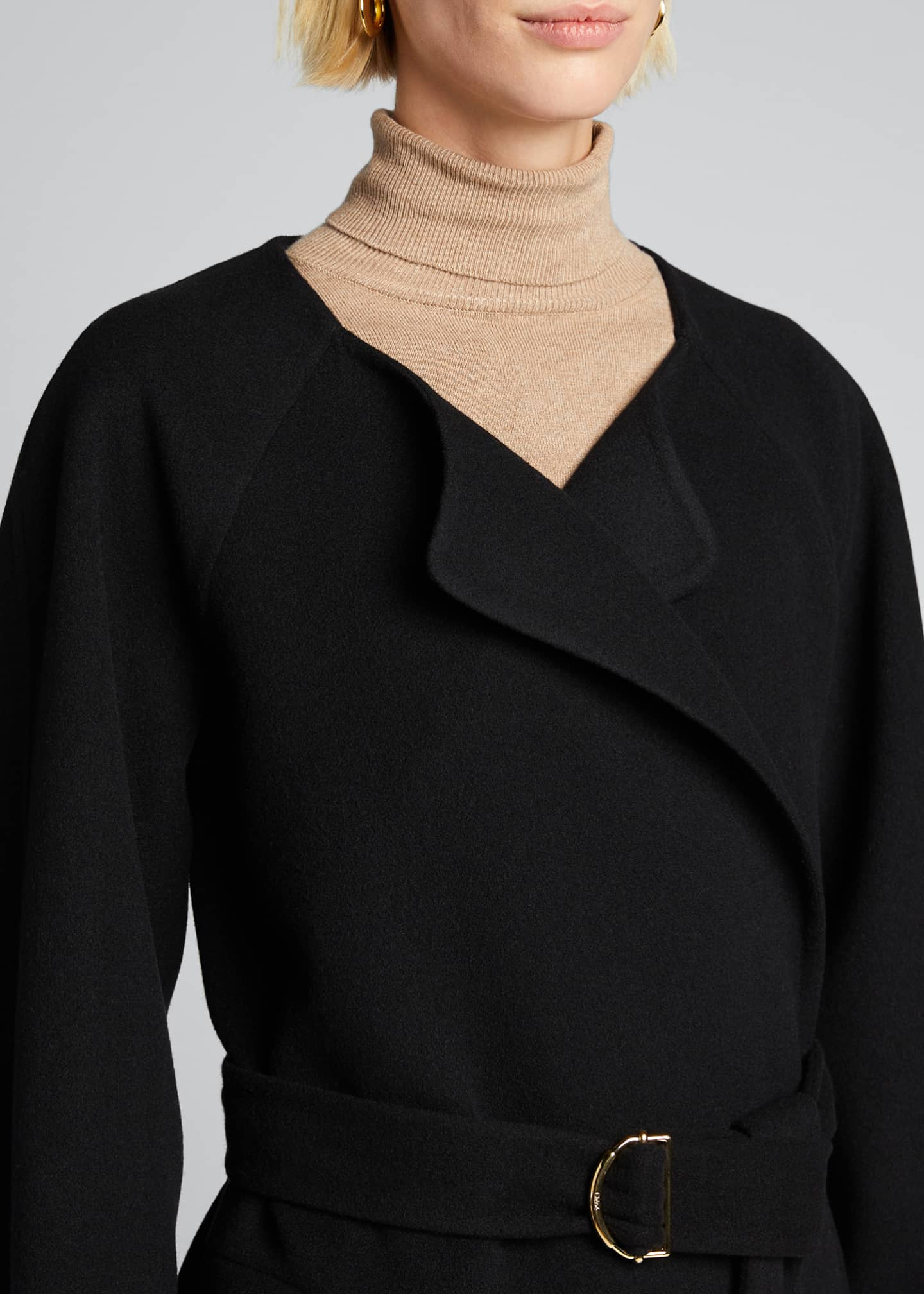 Image 4 of 5: Wool Cashmere Belted Wrap Coat