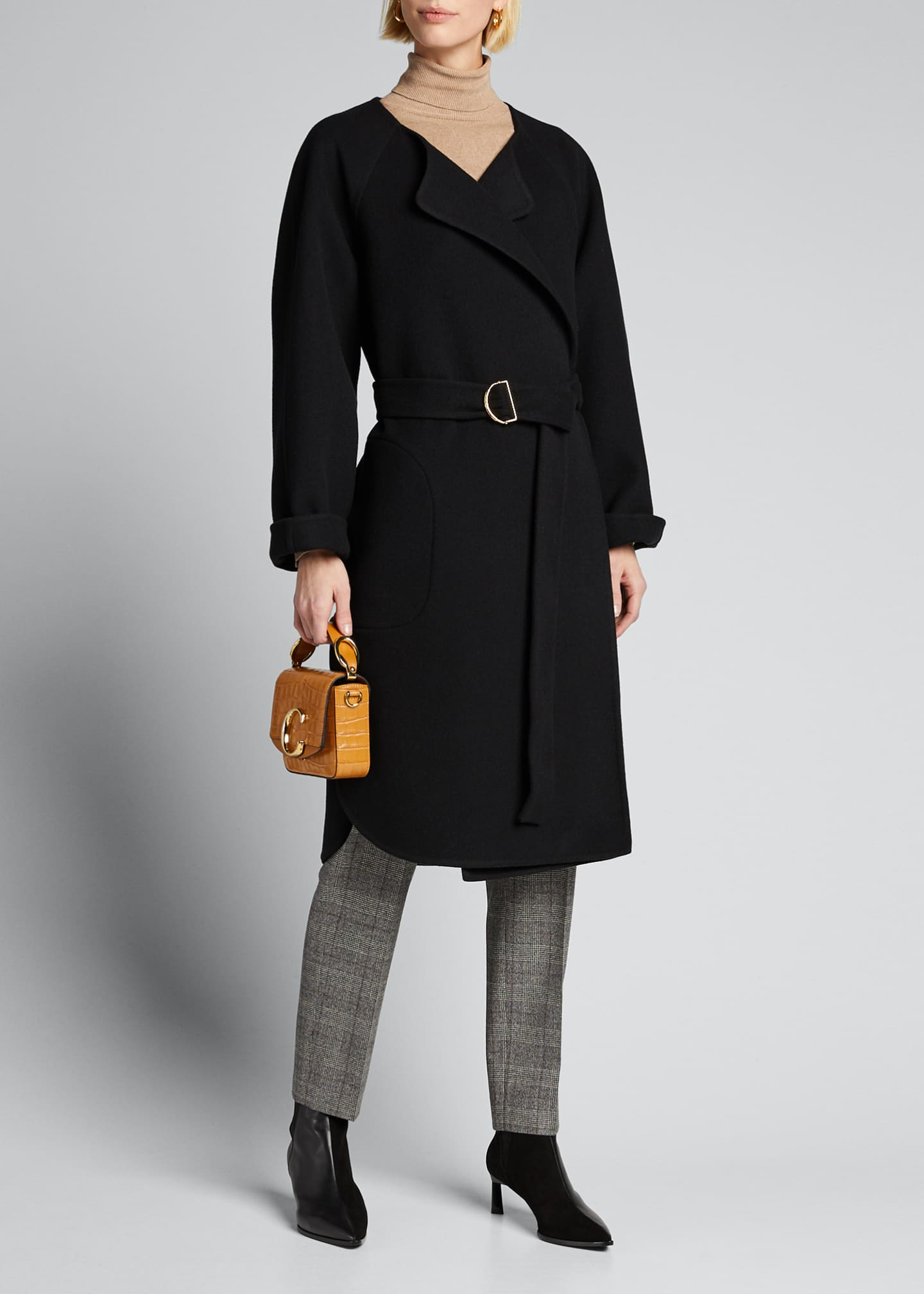 Image 1 of 5: Wool Cashmere Belted Wrap Coat
